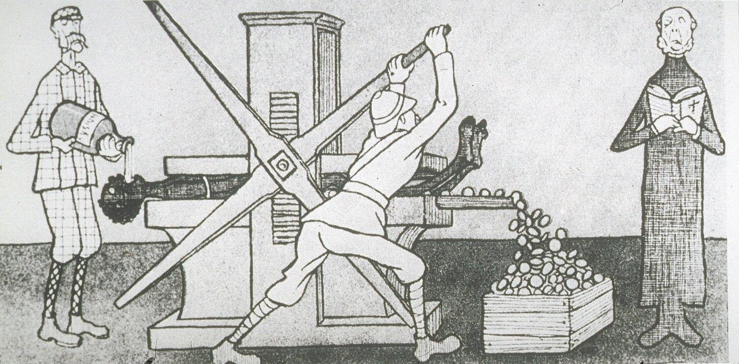 Niemiecka karykatura przedstawiająca postępowanie kolonistów brytyjskich wAfryce. Niemiecka karykatura przedstawiająca postępowanie kolonistów brytyjskich wAfryce. Źródło: 1904, domena publiczna.