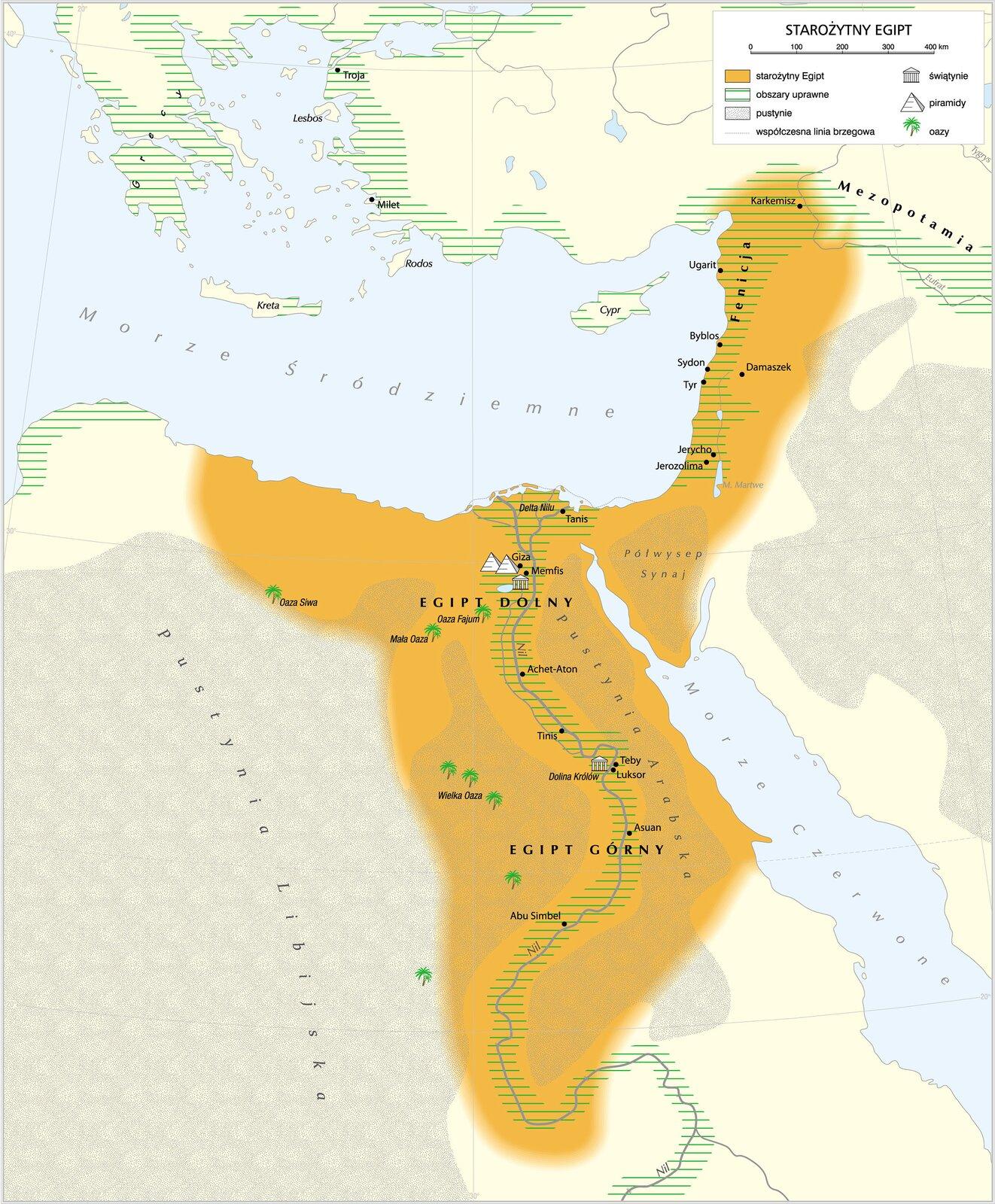 Mapa starożytnego Egiptu Mapa starożytnego Egiptu Źródło: Krystian Chariza izespół, licencja: CC BY 3.0.