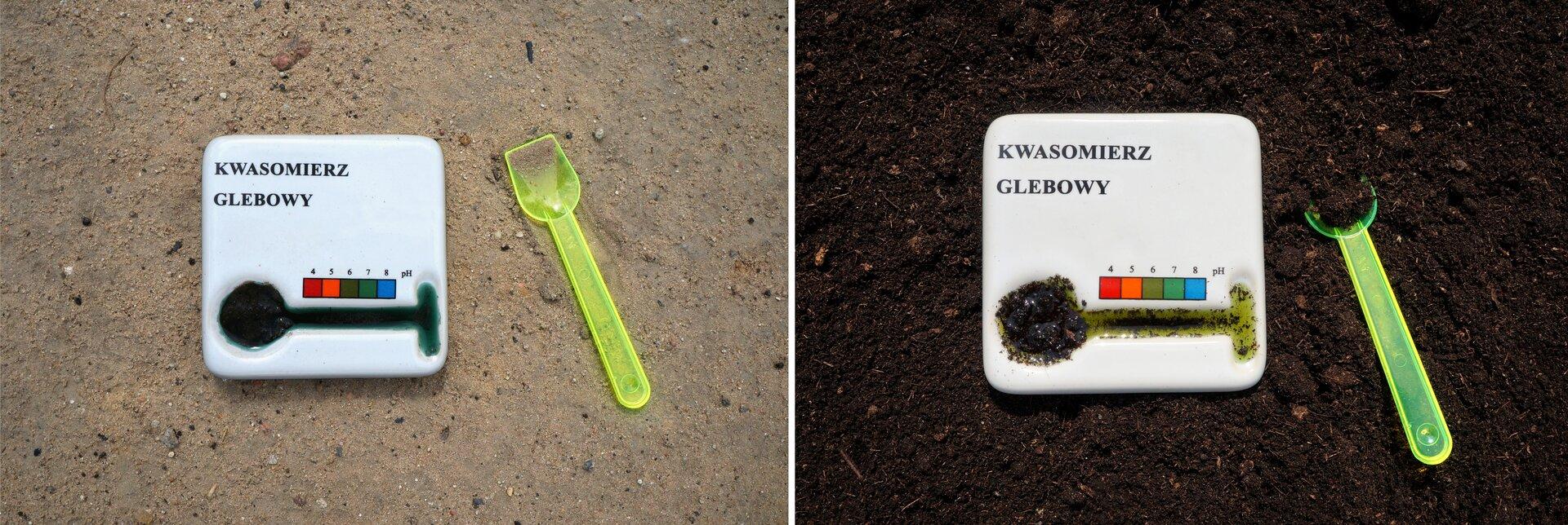 Ilustracja składa się zdwóch zdjęć przedstawiających wygląd izasadę działania kwasomierza glebowego. Na zdjęciu po lewej na gołym kawałku suchej ziemi leży zestaw do mierzenia kwasowości gleby. Składa się on zplastikowej łyżki oraz urządzenia podpisanego Kwasomierz glebowy, wktórego dolnej części znajduje się podłużne wgłębienie na substancję wskaźnikową. Powyżej wgłębienia znajduje się barwna legenda pozwalająca odczytać pH gleby zbarwy płynu. Po prawej stronie kwasomierz wraz złyżeczką leżą na ciemnej ziemi torfowej. Na łyżeczce iwe wgłębieniu znajdują się niewielkie ilości gleby. Do tego wokół gleby na kwasomierzu pływa sporo płynu wskaźnikowego okolorze jasnozielonym.