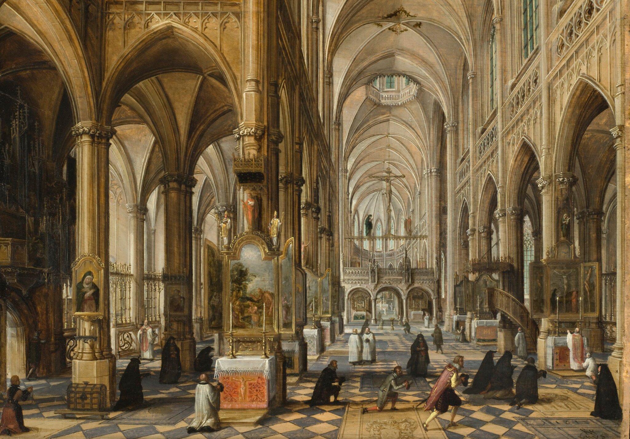 Wnętrze gotyckiej katedry Źródło: Paul Vredeman de Vries, Wnętrze gotyckiej katedry, 1612, olej na drewnie, Los Angeles County Museum of Art, domena publiczna.