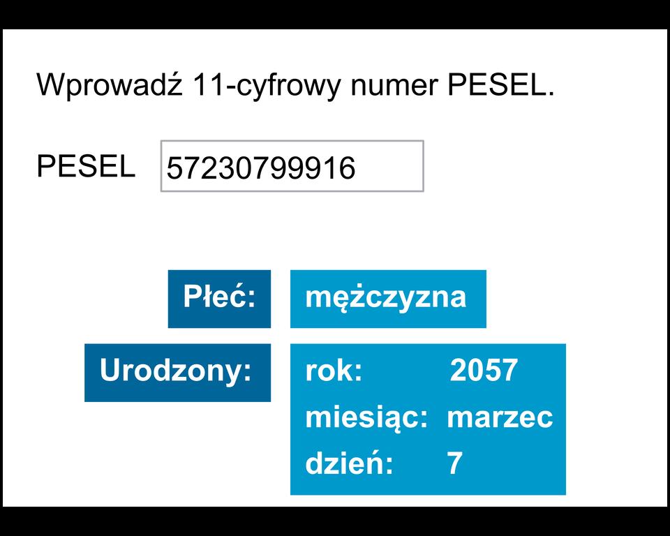 Animacja pokazuje jakie informacje są zakodowane wjedenasto-cyfrowym numerze PESEL. Znumeru Pesel odczytujemy płeć osoby idatę urodzenia.