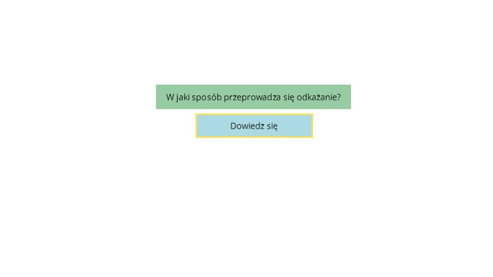 Aplikacja interaktywna prezentująca, za pomocą schematu blokowego, któremu towarzyszy komentarz lektora, proces odkażania. Rozpoczyna się od widoku planszy zpytaniem wzielonym polu Wjaki sposób przeprowadza się odkażanie?. Poniżej znajduje się przycisk Dowiedz się, którego kliknięcie powoduje odtworzenie komentarza ipojawienie się trzech strzałek kierujących od zielonego pola wdół boki do trzech nowych niebieskich pól opisanych jako Sposoby mechaniczne po lewej, Sposoby chemiczne pośrodku iSposoby fizykochemiczne po prawej. Kliknięcie jednego zniebieskich pól powoduje przeniesienie schematu wgórną część okna aplikacji, odegranie komentarza lektora iwyświetlenie odpowiednich ilustracji, na których osoba wbiałym kombinezonie ochronnym, zkapturem na głowie, wmasce przeciwgazowej oraz wżółtych gumowych butach irękawicach ochronnych wykonuje omawiane czynności. Dla odkażania mechanicznego są to zamiatanie podłóg iścieranie ścian. Dla sposobów chemicznych jest to mycie asfaltu lub chodnika mieszanką odkażającą zmyjki ciśnieniowej. Dla sposobów fizykochemicznych jest to mycie stołu środkiem odkażającym znajdującym się obok stołu wkanistrze.