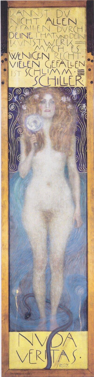 """Ilustracja interaktywna przedstawia obraz """"Nuda Veritas"""" autorstwa Gustawa Klimty. Obraz ukazuje nagą kobietę, trzymającą wręku lupę. Nad oraz pod postacią umieszczone są napisy."""