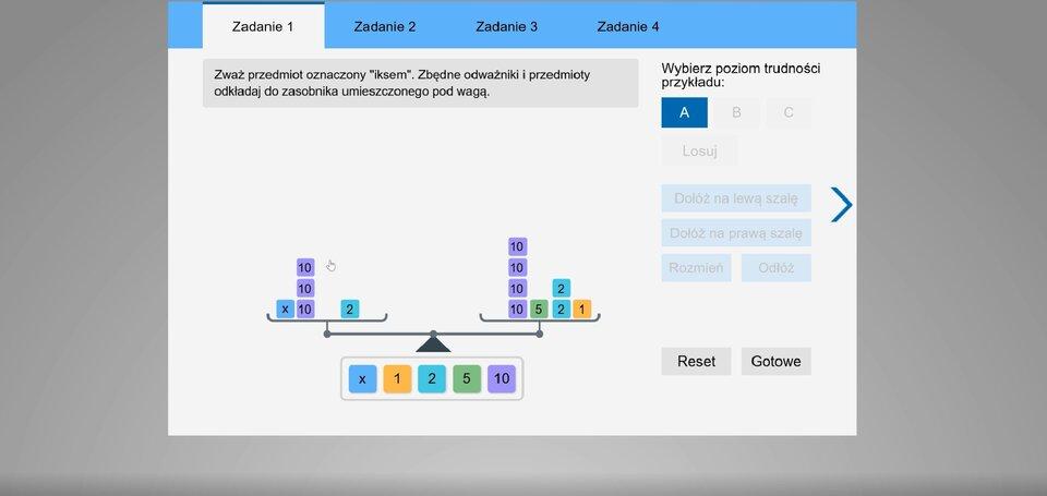 """Jeśli korzystasz zczytnika ekranu NVDA, przełącz go wtryb formularza. Film pod tytułem """"Rozwiązywanie równań""""."""