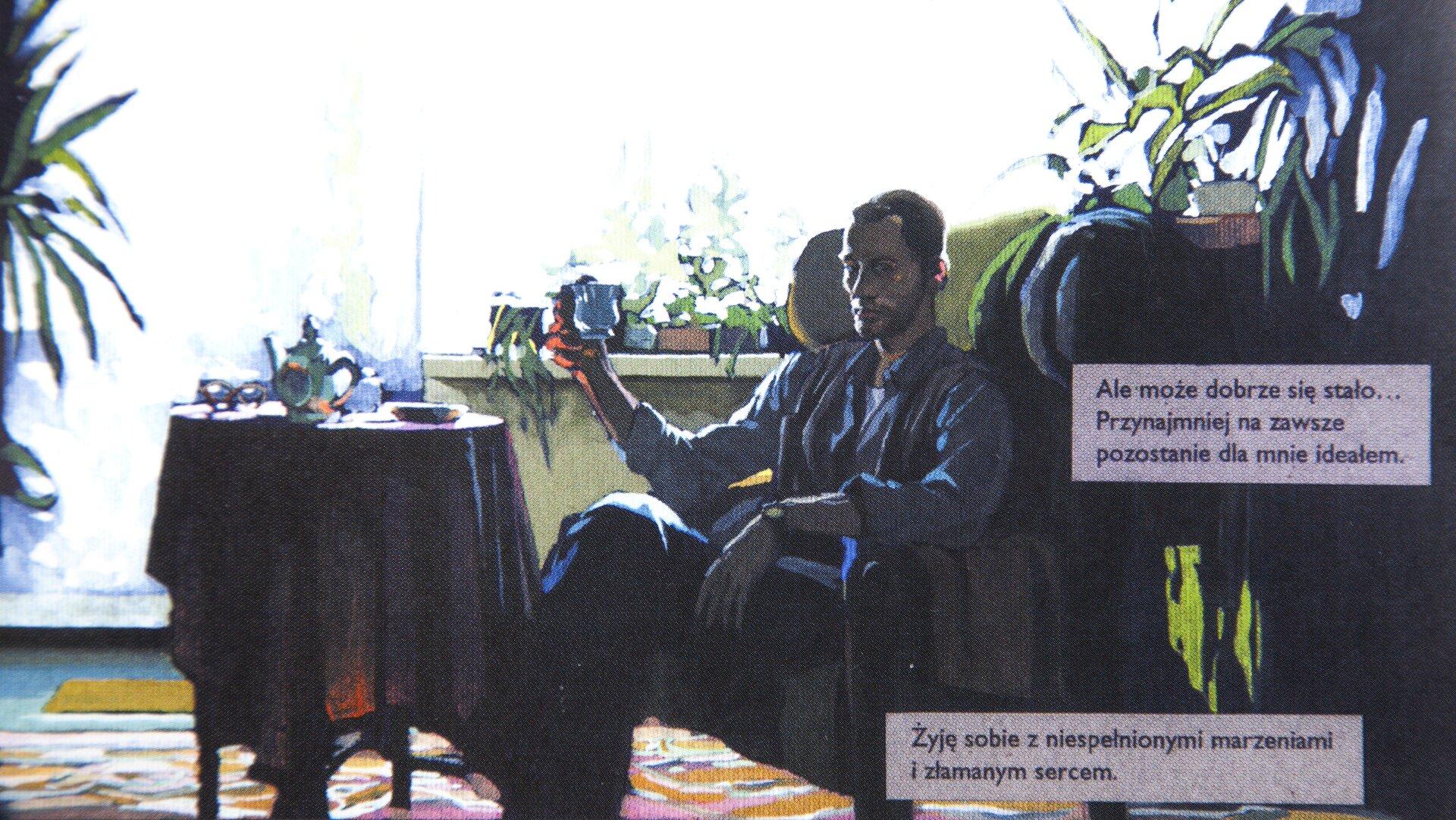 """Ilustracja przedstawia prace Piotra Kani do komiksu Jacka Waliszewskiego """"On, obraz, ona"""". Ukazuje siedzącego wfotelu mężczyznę, który wręku trzyma filiżankę. Za nim, na parapecie, stoją kwiaty. Przed nim znajduje się mały, okrągły stolik nakryty obrusem. Na nim stoją naczynia. Po prawej stronie znajdują się dwa prostokąty, na których zamieszczone są teksty: """"Żyję sobie zniespełnionymi marzeniami izłamanym sercem."""" i"""" Ale może dobrze się stało... Przynajmniej na zawsze pozostanie dla mnie ideałem."""""""