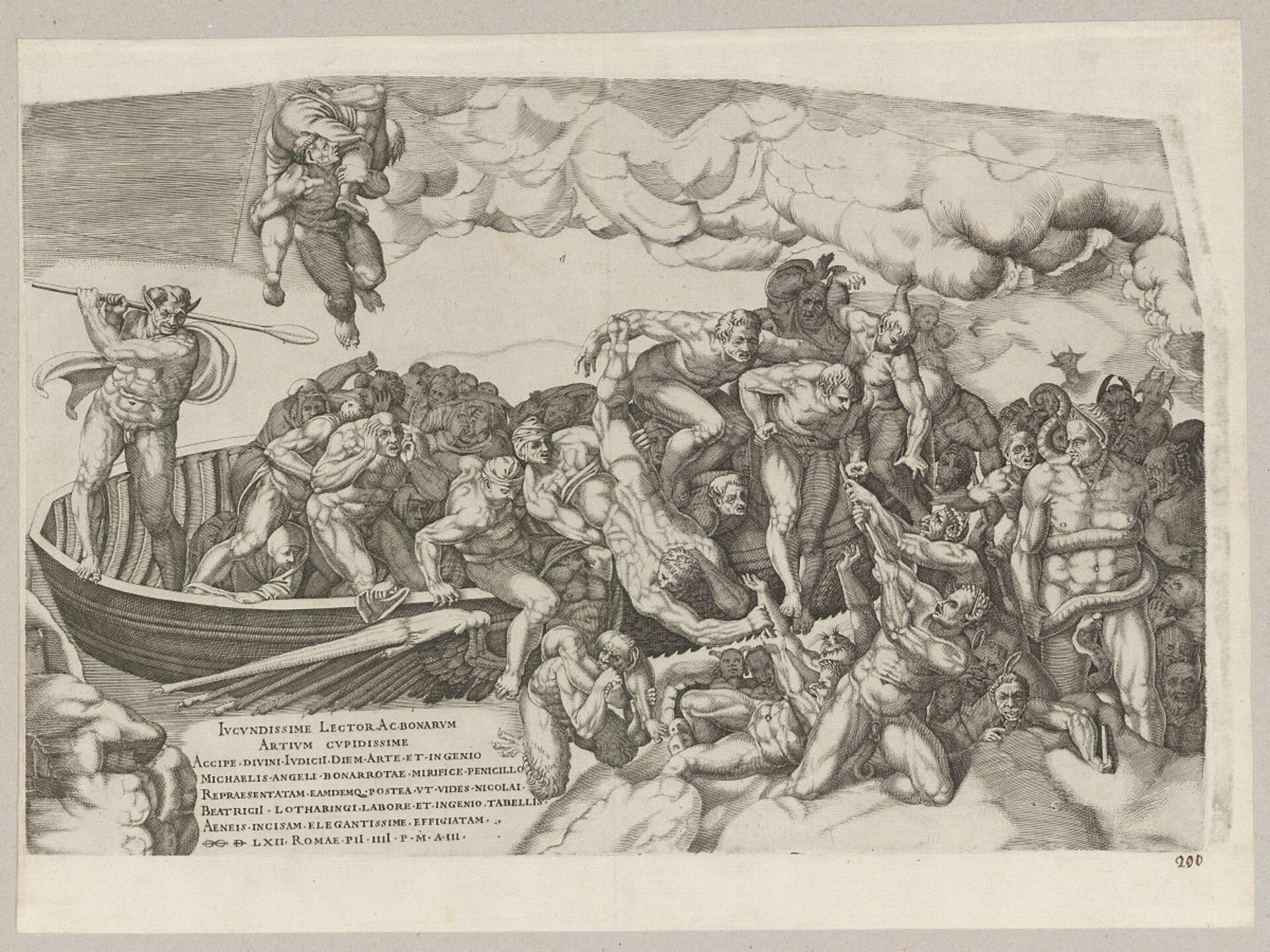 """Ilustracja przedstawia miedzioryt Nicolasa Beatrizeta """"Sąd Ostateczny wg Michała Anioła. Łódź Charona"""". Ukazuje przeprawę grzeszników łodzią przez Styks. Złodzi wychodzą nadzy mężczyźni. Będący na zewnątrz pomagają wyciągać innych członków załogi. Niektórzy walczą między sobą. Po lewej strony włodzi stoi Charon. Wiosłem pogania mężczyzn. Wdolnej części, po lewej stronie znajduje się opis."""