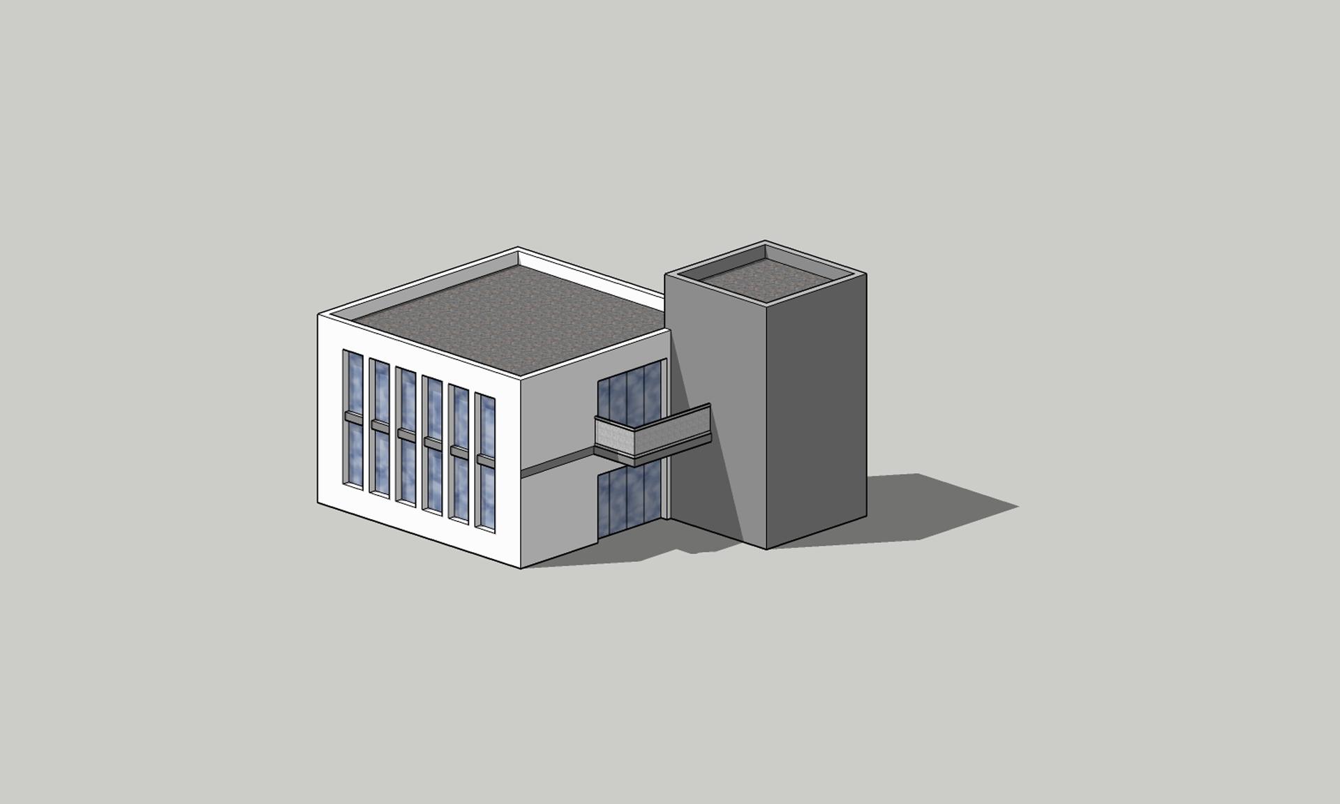 Ilustracja przedstawia budynek, złożony zdwóch brył, prostopadłościanów. Jest to przykłady bryły budynku narysowane wrzucie aksonometrycznym.