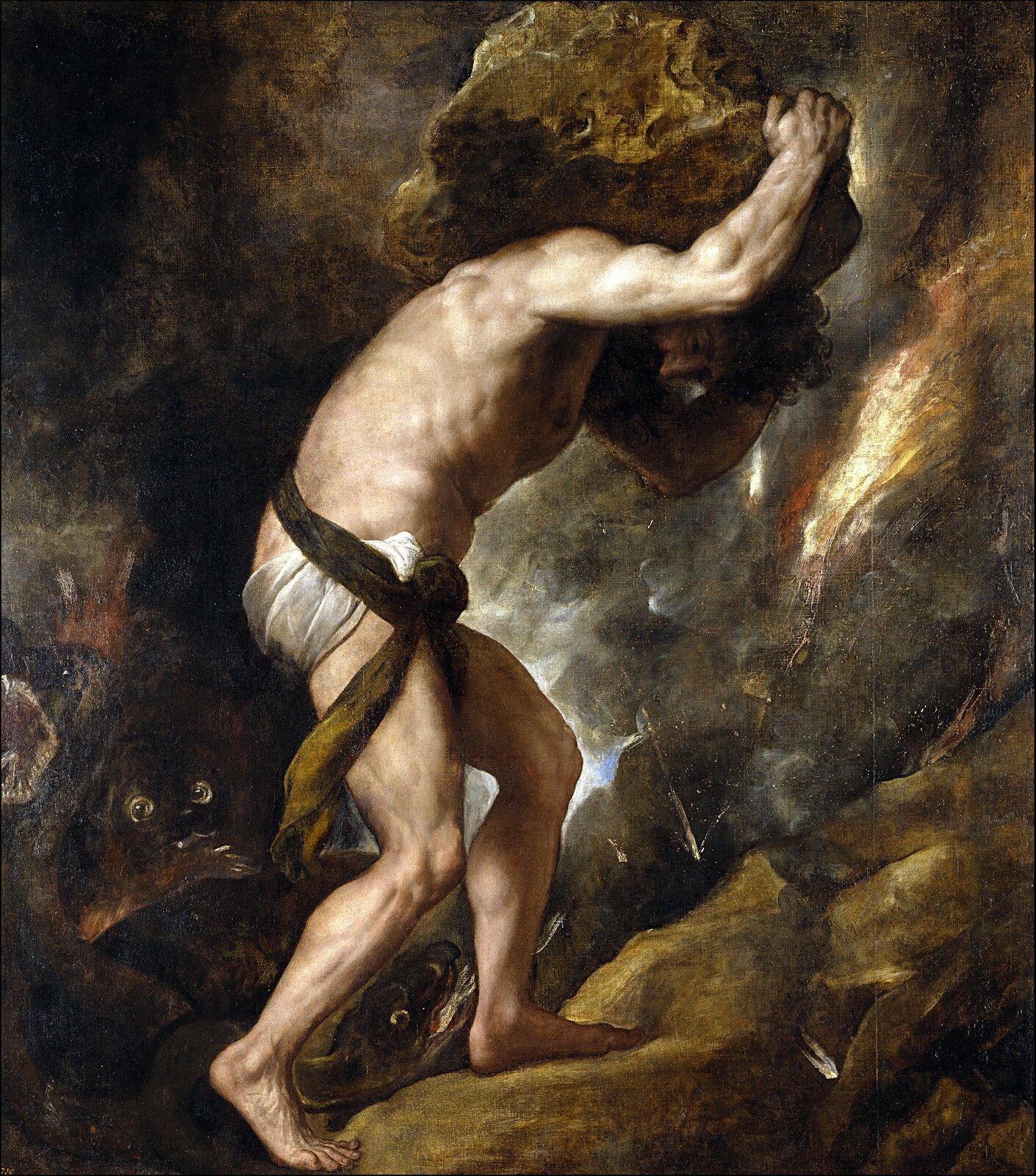 """Ilustracja przedstawia dzieło Tycjana zatytułowane """"Syzyf"""". Wcentrum obrazu znajduje się postać mężczyzny zprzepaską na biodrach, który wnosi na barkach na górę ogromny głaz. Mężczyzna ma napięte wszystkie mięśnie."""