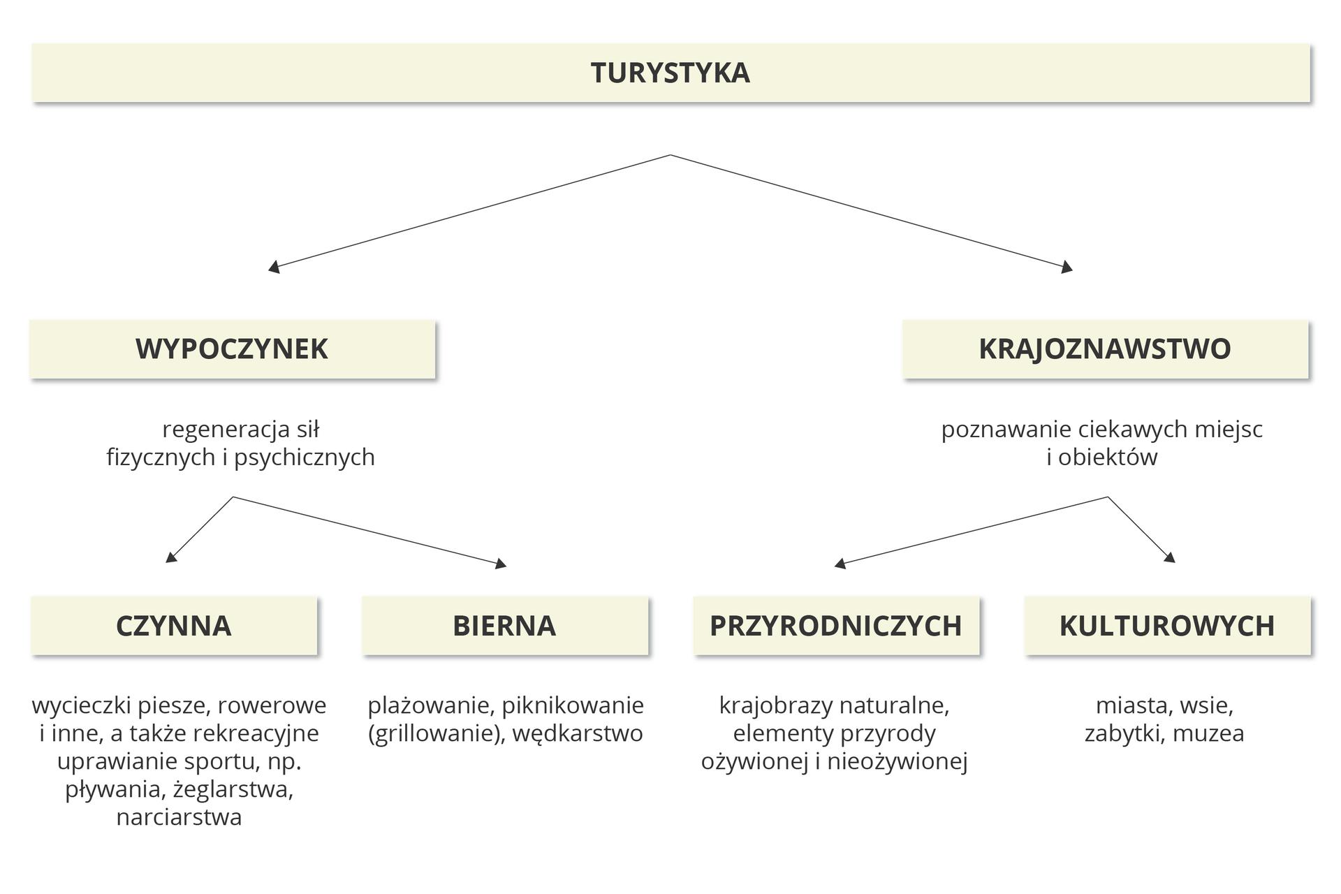 Na ilustracji schemat podziału turystyki na główne jej rodzaje – wypoczynek (czynny, bierny) ikrajoznawstwo (poznawanie ciekawych miejsc iobiektów przyrodniczych ikulturowych).