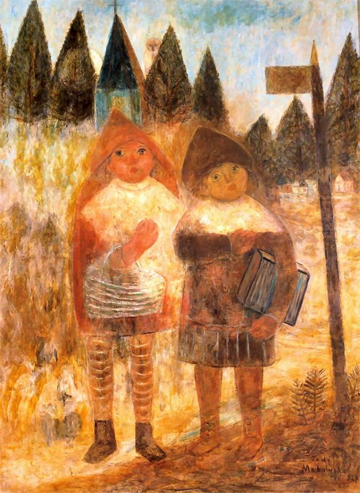 """Ilustracja przedstawia obraz pt. """"Powrót ze szkoły"""" autorstwa Tadeusza Makowskiego. Dzieło ukazuje dwie postacie dziecięce wracające ze szkoły. Jedna znich trzyma dużą książkę pod pachą, druga na ręce zawieszony ma biały koszyk. Dzieci ubrane są wkurtki zkapturami, które mają na głowie."""