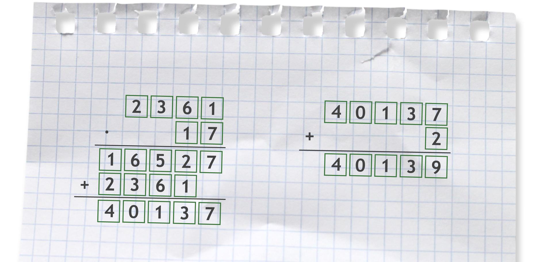 Przykłady: mnożenia pisemnego 2361 razy 17 =40137 idodawania pisemnego 40137 +2 =40139. Jest to sprawdzenie dzielenia liczby 40139 przez 17 =2361 r2.