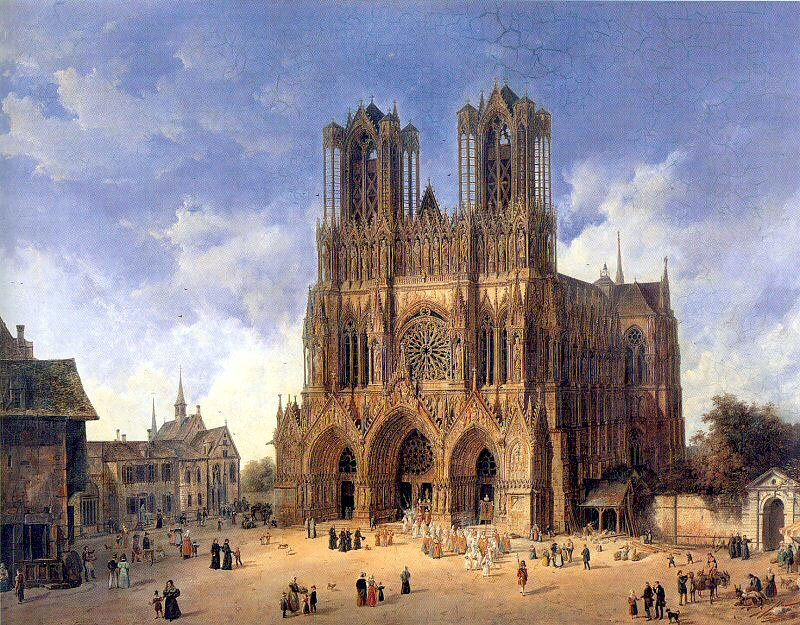 Katedra wReims Źródło: Domenico Quaglio, Katedra wReims, 1833, Museum der bildenden Künste, Lipsk, domena publiczna.