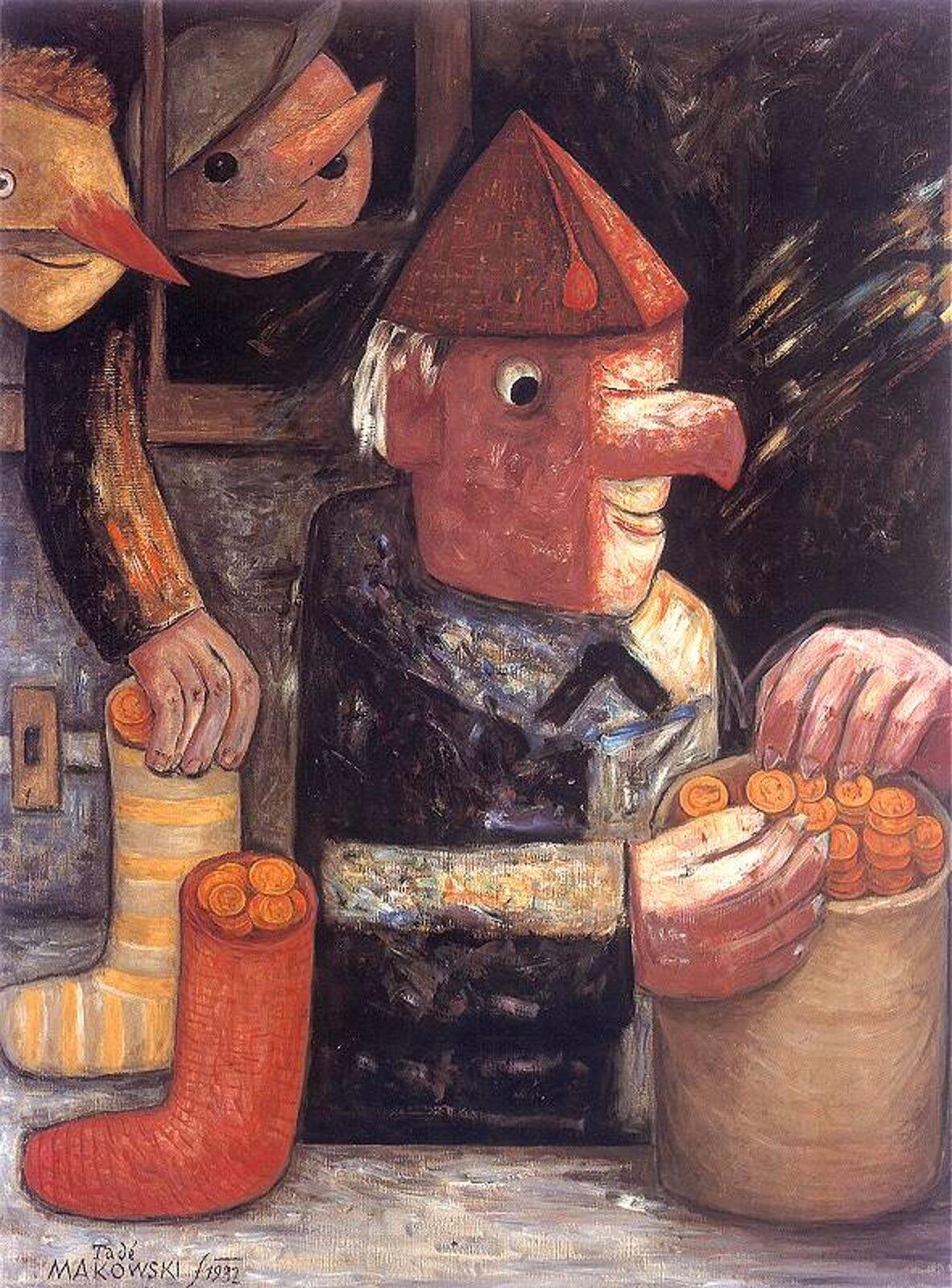 """Ilustracja przedstawia obraz pt. """"Skąpiec"""" autorstwa Tadeusza Makowskiego. Praca przedstawia postać tytułowego Skąpca, starszego mężczyzny siedzącego przy stole. Mężczyzna ma charakterystyczny przypominający nos hak, duże dłonie zostro zakończonymi pazurami. Na drugim planie widoczne są dzieci przyglądające się starcowi. Jedno zdzieci wyciąga rękę po skarpetkę, gdzie znajdują się monety."""