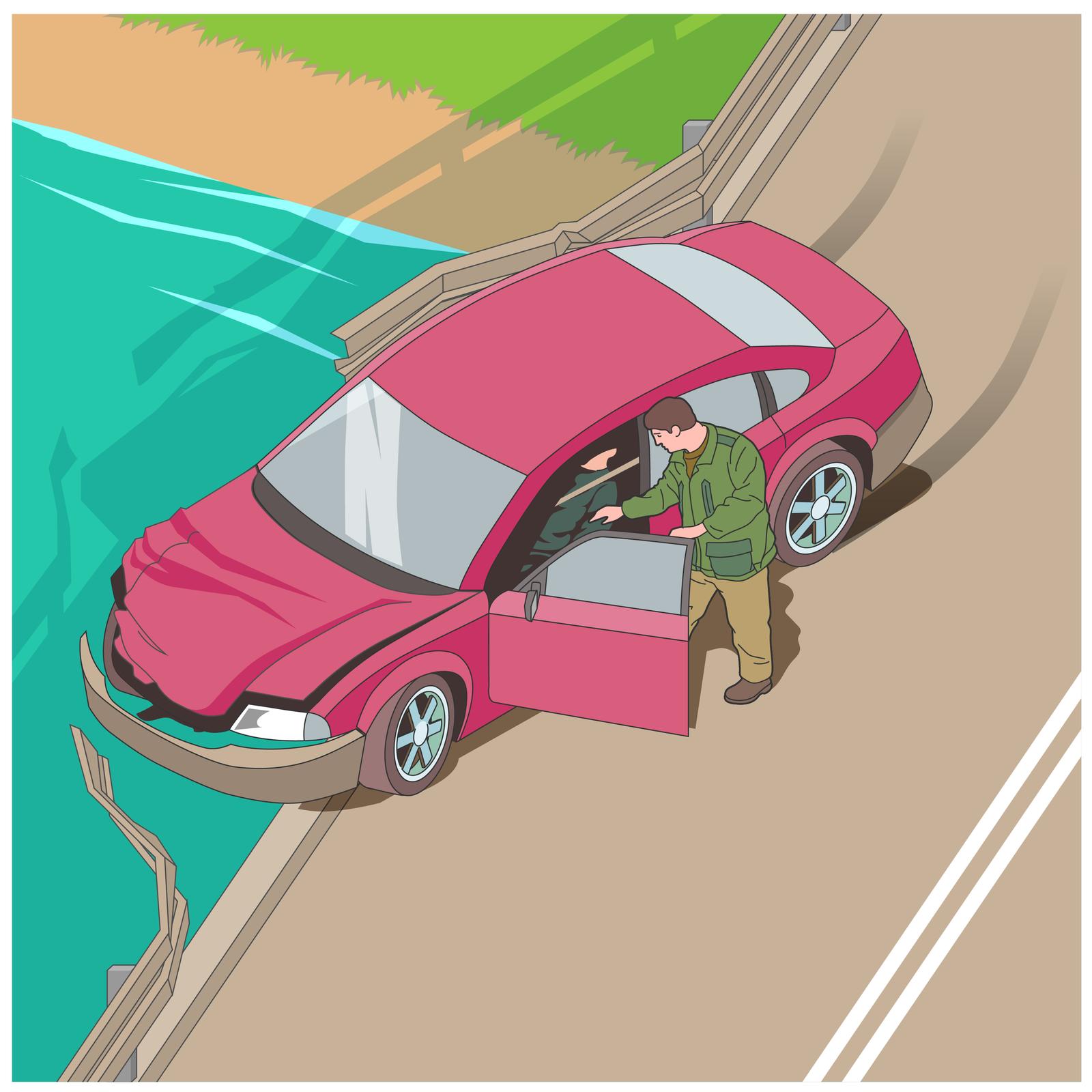 Ilustracja przedstawia wypadek na moście. Samochód przełamał barierkę zlewej strony mostu. Przód samochodu skierowany wlewą stronę zdjęcia. Drzwi kierowcy otwarte. Drugi mężczyzna próbuje pomóc kierowcy siedzącemu wsamochodzie. Poniżej mostu rzeka.
