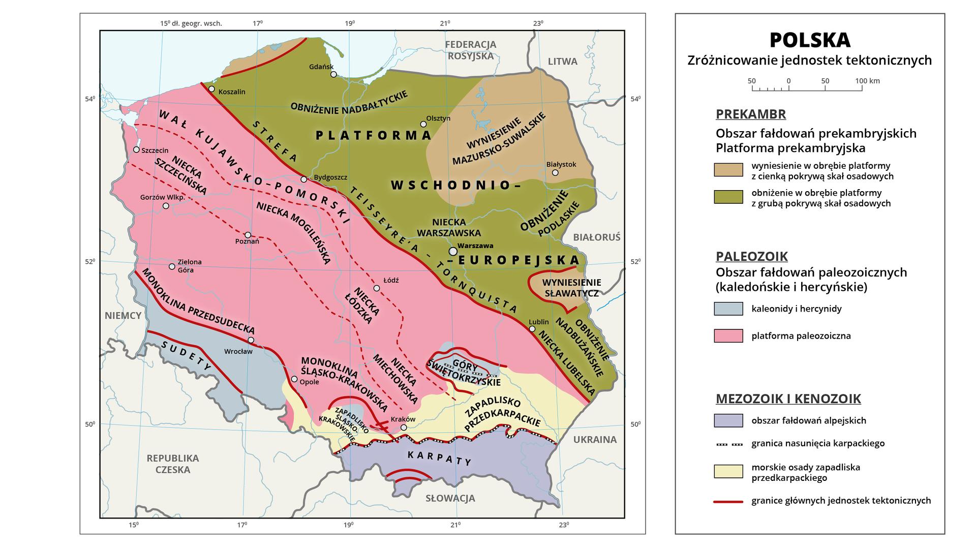 Mapa Polski przedstawia zróżnicowanie jednostek tektonicznych. Polska leży na granicy trzech głównych jednostek tektonicznych Europy odznaczających się zróżnicowaną budową geologiczną. Obszarplatformy wschodnioeuropejskiej obejmujepółnocno-wschodniączęść Polski. To obszar fałdowań prekambryjskich. Na obszarze obniżenia wobrębie platformy zgrubą pokrywą skał osadowych zaznaczono: obniżenie nadbałtyckie, nieckę warszawską, obniżenie podlaskie, nieckę lubelską, obniżenie nadbużańskie, obniżenie podlaskie. Zaznaczono także wyniesienia wobrębie platformy zcienką pokrywą skał osadowych. Wyróżniono: wyniesienie mazursko-suwalskie oraz wyniesienie Sławatycz. Strefa Teisseyre'a-Tornquistato granica pomiędzy platformą wschodnioeuropejską akolejnym obszarem zaznaczonym na mapie. Środkowa izachodniaczęść Polski to obszar platformy paleozoicznej. Wyróżniono wał kujawsko-pomorski, nieckę szczecińską, nieckę mogileńską, łódzką, miechowską, monoklinę przedsudecką, monoklinę śląsko-krakowską. Sudety iGóry Świętokrzyskie to kaledonidy ihercynidy, obszar pokryty grubą warstwą skał osadowych. Mezozoik ikenozoik to Karpaty oraz zapadliska przedkarpackie – kotliny Sandomierska iOświęcimska. To obszar fałdowań alpejskich.