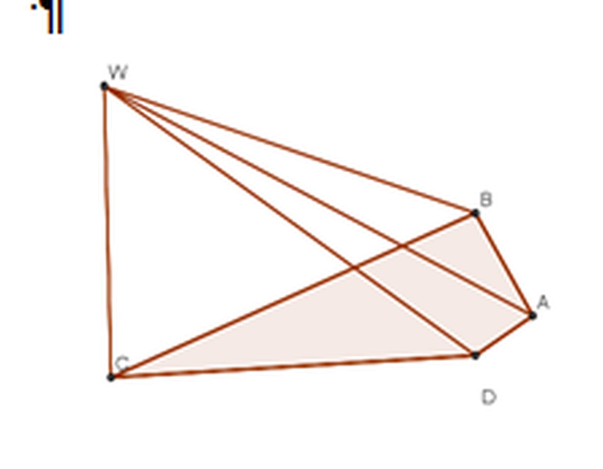 Rysunek ostrosłupa opodstawie czworokąta ABCDiwierzchołku W.