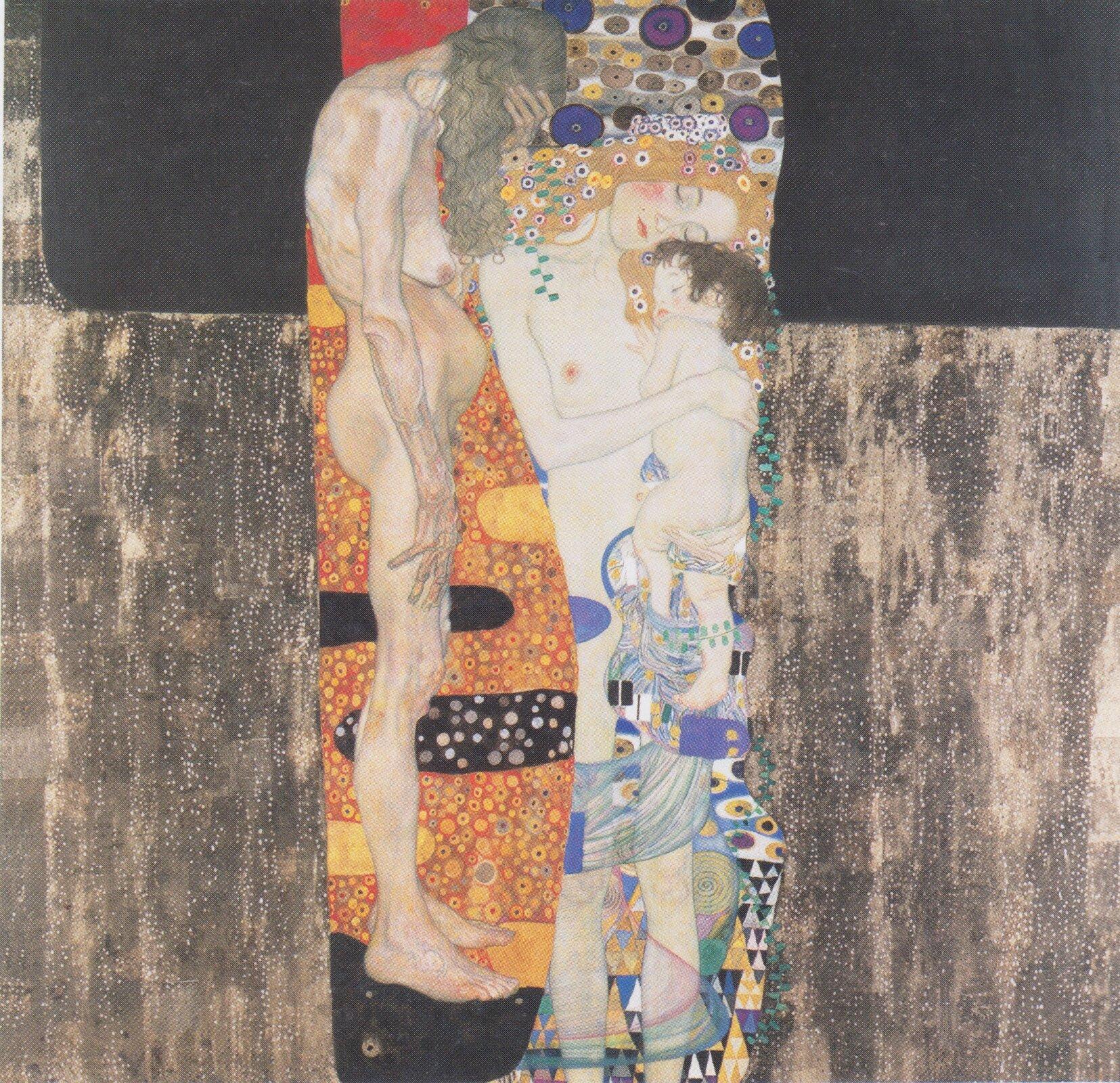 """Ilustracja przedstawia obraz """"Trzy okresy życia kobiety"""" autorstwa Gustawa Klimty. Obraz ukazuje trzy postacie wróżnym wieku. Kobieta trzyma na rękach dziecko, obok nich znajduje się staruszka zopuszczoną głową."""