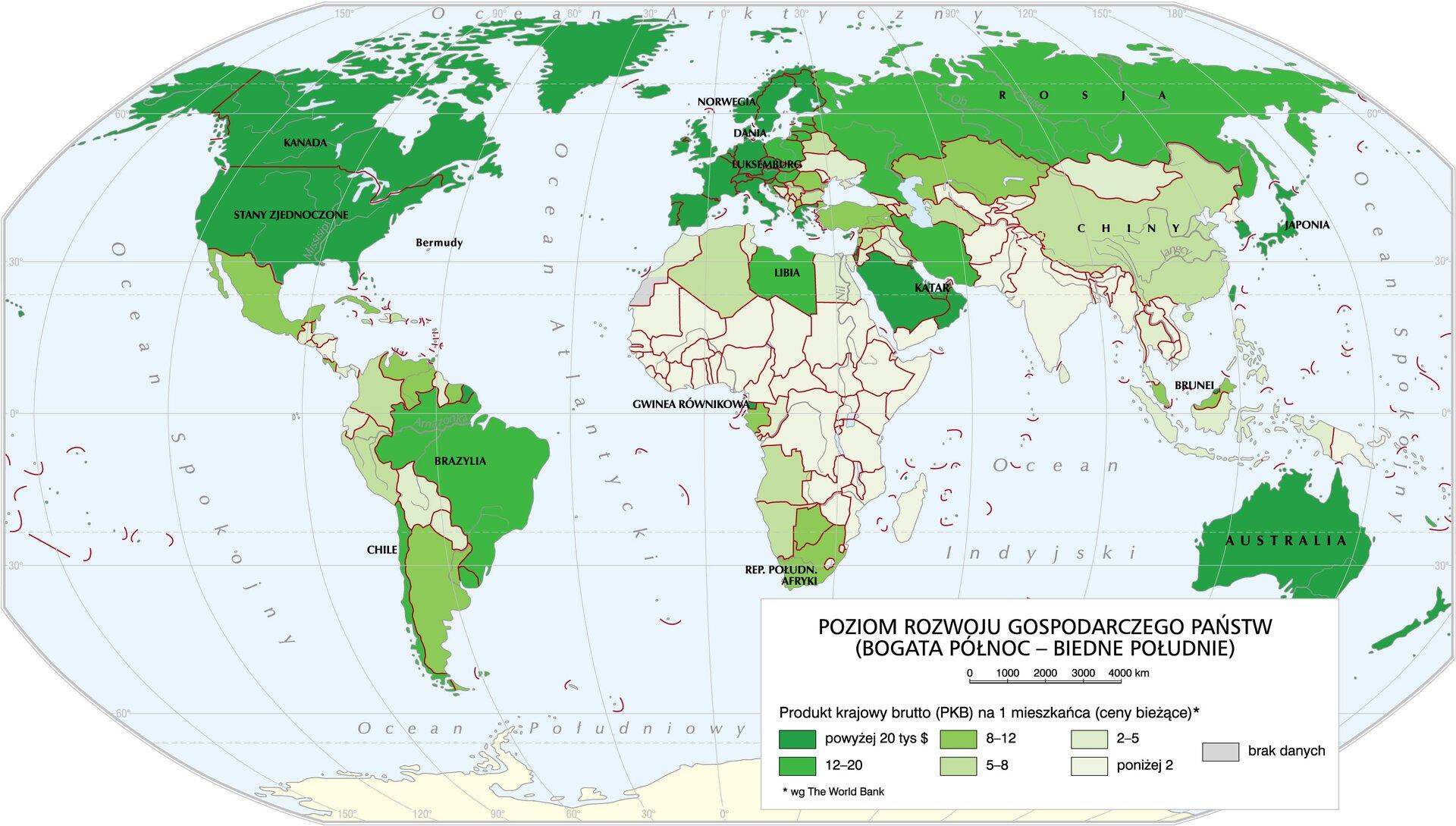 Poziom rozwoju gospodarczego państw Poziom rozwoju gospodarczego państw Źródło: Krystian Chariza izespół, licencja: CC BY 4.0.