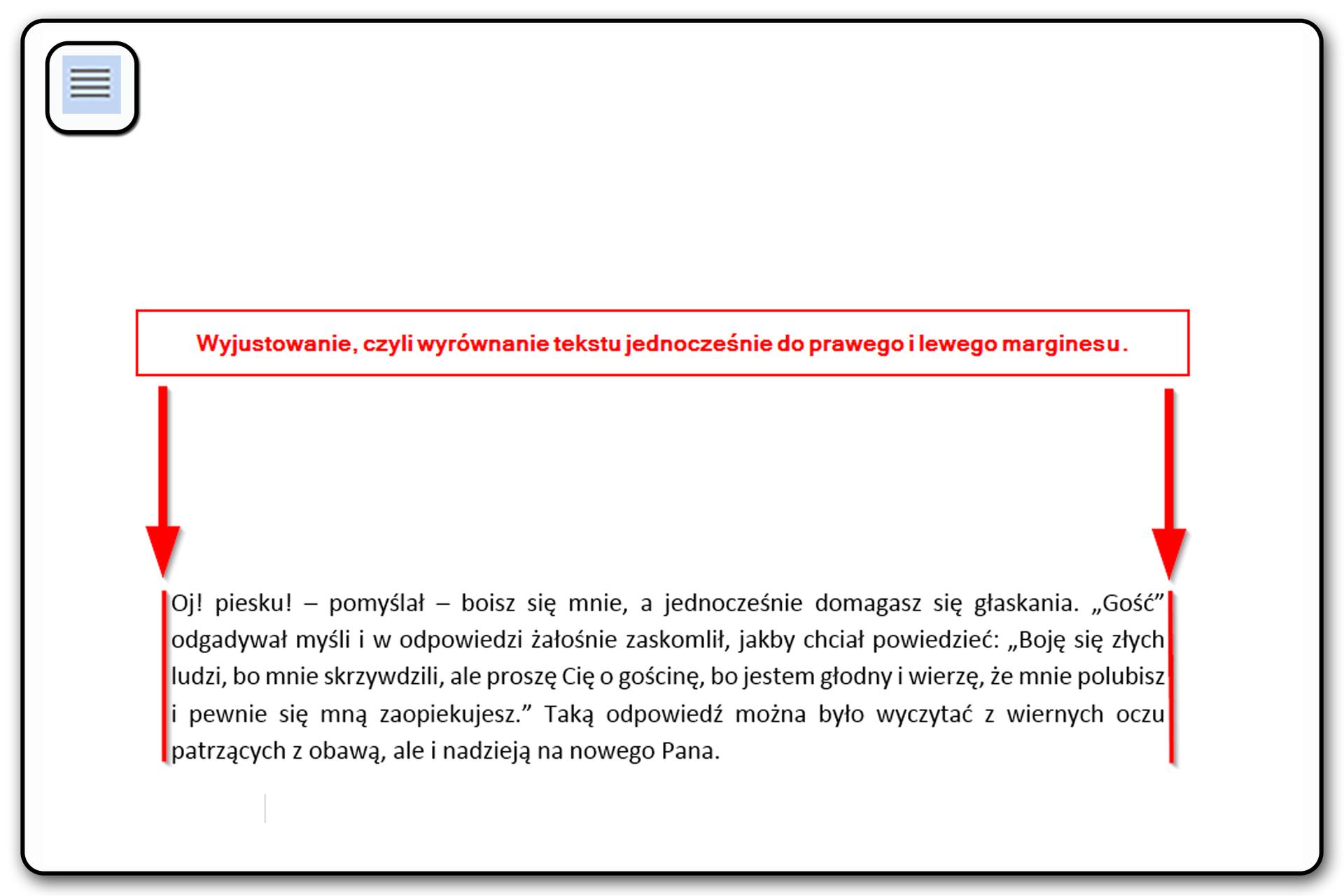 Slajd 6 galerii: Zastosowanie poszczególnych narzędzi wyrównywania tekstu