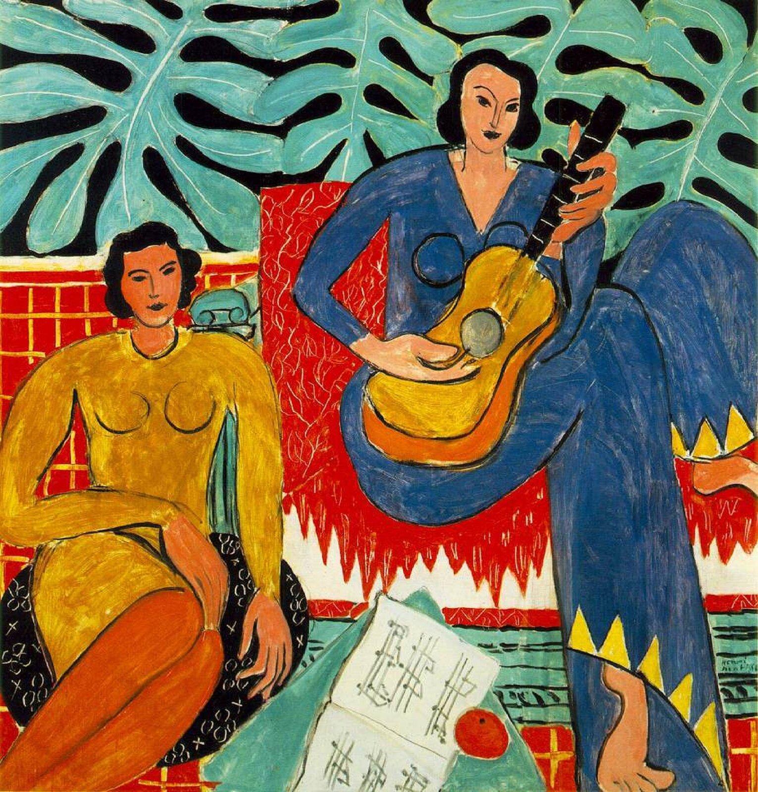 """Ilustracja przedstawia obraz Henriego Matisse pt. """"Lekcja muzyki"""". Obraz powstał w1917 roku. Obecnie możemy go znaleźć wOklahoma City Museum of Art, Oklahoma. Dzieło przedstawia dwie kobiety. Jedna, ubrana wniebieską sukienkę, gra na gitarze, adruga, ubrana wżółtą sukienkę, jej się przysłuchuje. Na stoliku stojącym przed kobietami ułożone są nuty. Wtle na ścianie widoczne są namalowane liście. Obraz jest przykładem malarstwa fowistycznego charakteryzującego się dużym uproszczeniem. Autorem dzieła był francuski malarz uważany za najsłynniejszego fowistę."""