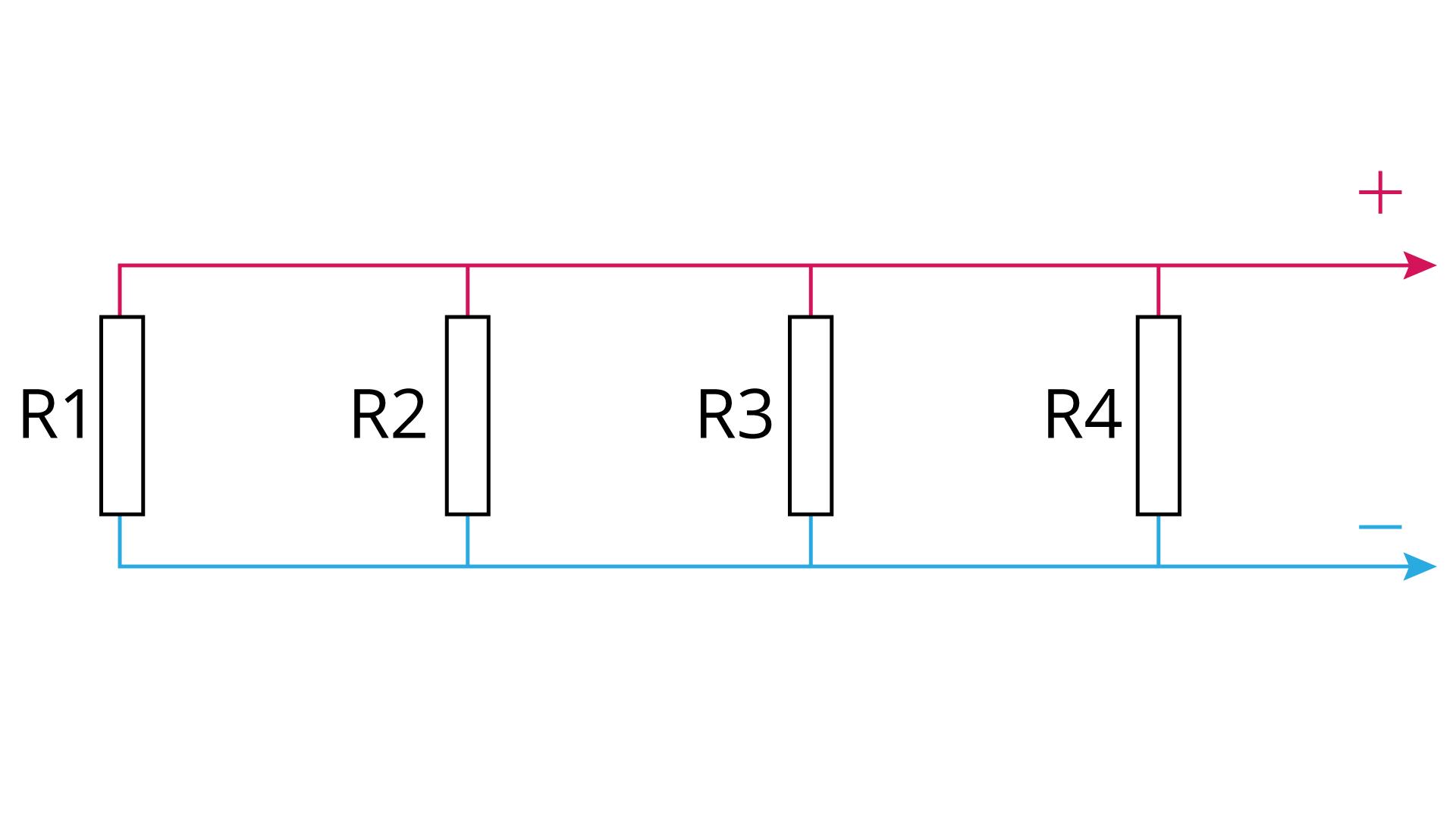 Uproszczony schemat kilku oporników połączonych równolegle