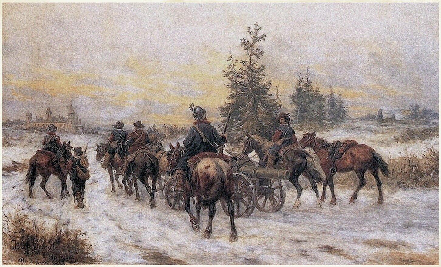 Marsz Szwedów do Kiejdan Pochód wojsk szwedzkich wkierunku Kiejdan, przedstawiony na starejpocztówce. Źródło: Józef Brandt, Marsz Szwedów do Kiejdan, domena publiczna.