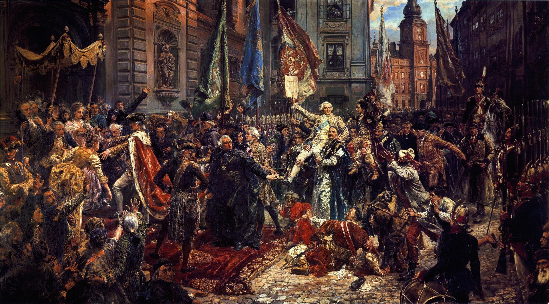 Konstytucja 3 Maja 1791 roku Konstytucja 3 Maja 1791 roku Źródło: Jan Matejko, Konstytucja 3 Maja 1791 roku, 1891, Zamek Królewski wWarszawie, domena publiczna.