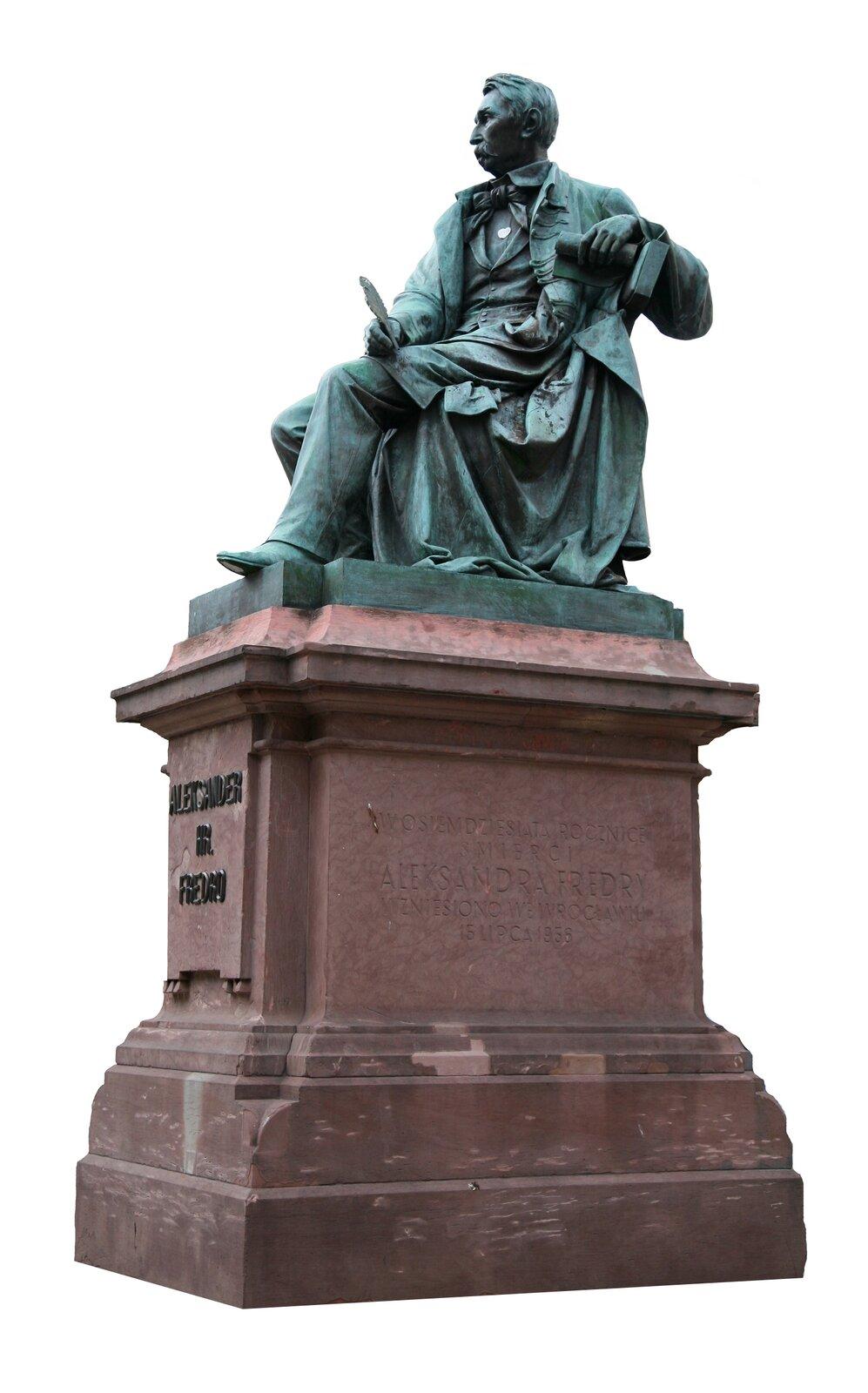 LeonardMarconi, pomnik Aleksandra Fredry, 1879; tu: zdjęcie zWrocławia LeonardMarconi, pomnik Aleksandra Fredry, 1879; tu: zdjęcie zWrocławia Źródło: Małgorzata Skibińska, Contentplus.pl sp. zo.o., fotografia barwna, licencja: CC BY 3.0.