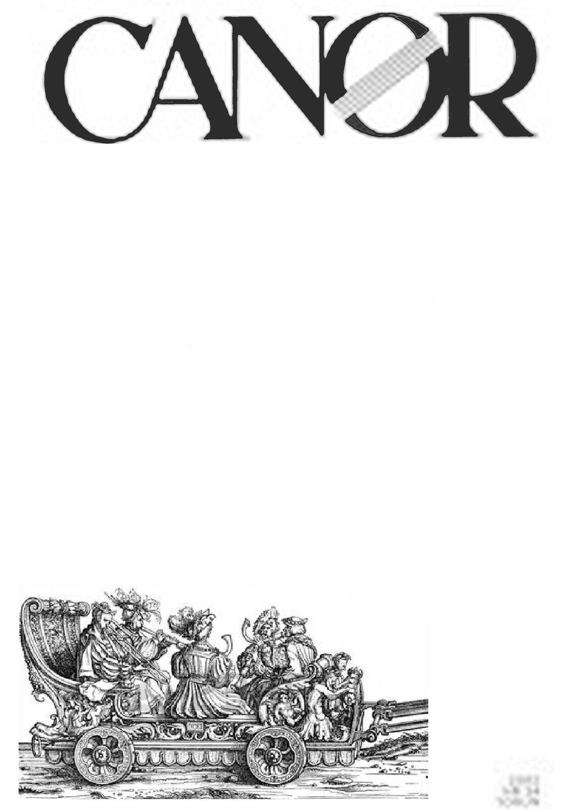 """Ilustracja przedstawia okładkę czasopisma muzycznego """"Canor"""". Na okładce obiałym tle znajduje się nazwa czasopisma, poniżej rycina przedstawiająca wóz zkobietami, które ubrane są wfaliste suknie zgodne zepoką."""
