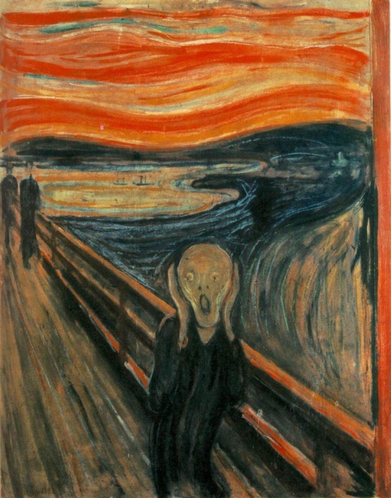 """Ilustracja przedstawia obraz olejny """"Krzyk"""" autorstwa Edvarda Muncha. Na pierwszym planie ekspresjonistycznej kompozycji ukazana jest postać człowieka owydłużonej, czarnej sylwetce stojąca na moście. Mężczyzna trzyma się oburącz za głowę. Twarz wyraża przerażenie; usta ioczy są szeroko rozwarte. Wtle, po lewej stronie płótna znajdują się dwie czarne sylwetki idących po moście postaci. Na drugim planie ukazany jest fiord zmalutkimi statkami idużym, ciemno-niebieskim, mrocznym kształtem pofalowanego wybrzeża. Nad sceną góruje łuna ogniście czerwonego nieba. Artysta nie skupia się na wiernym odzwierciedleniu natury. Nie dba odetal. Obraz ma charakter notatki, gdzie twórca przy pomocy kilku kolorów iszybkich, długich pociągnięć pędzla chce ukazać dramatyzm przedstawionej sceny. Dzieło utrzymane jest wwąskiej, mrocznej tonacji granatów, czerwieni ibrązów. Szaro-brązowa twarz postaci na pierwszym planie wtapia się kolorystycznie wzbrudzone tło fiordu imostu. Kolorystyczną dominantę stanowią ogniście czerwone pasy niepokojącego nieba."""