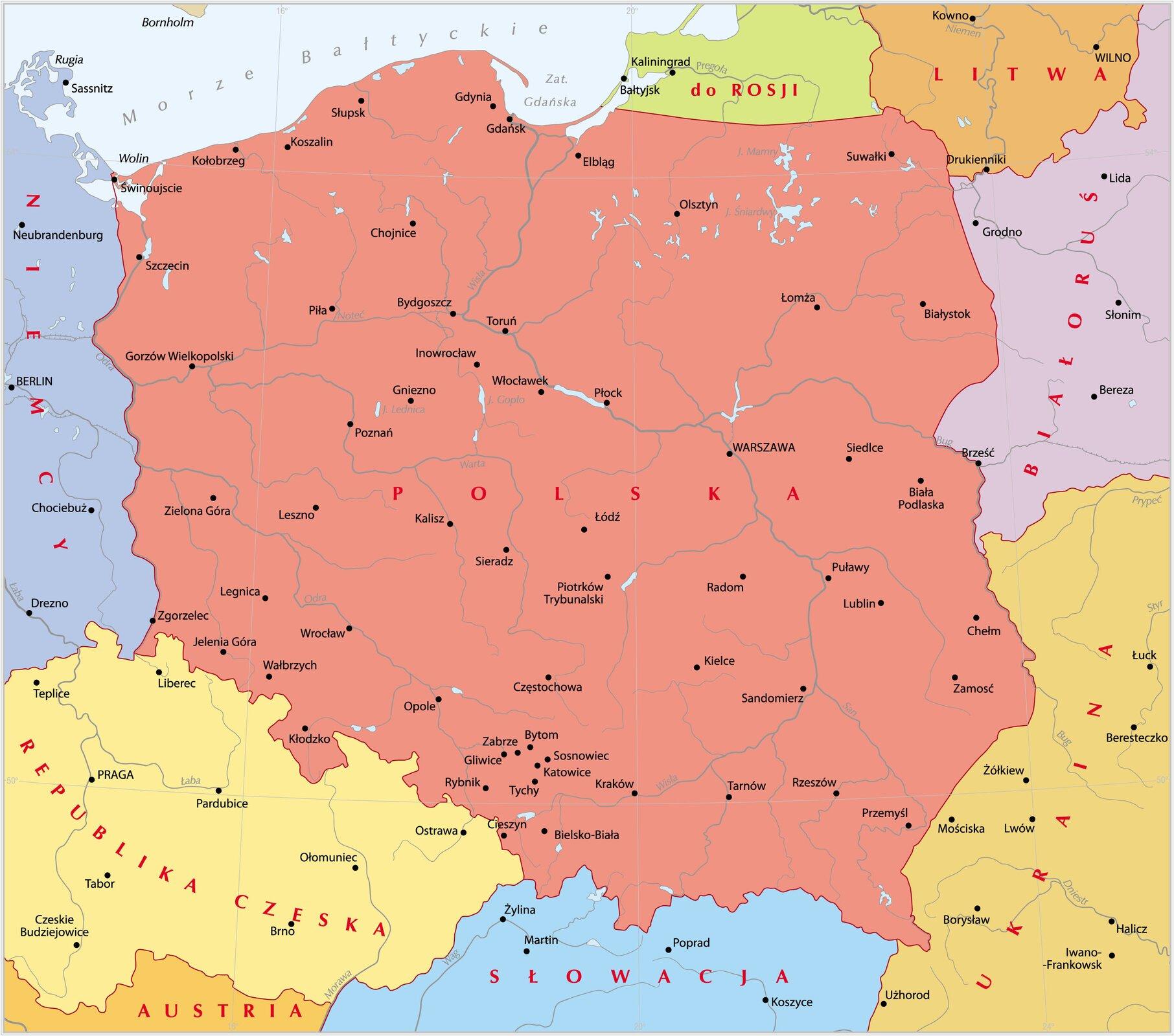 Mapa współczesnejPolski Mapa współczesnejPolski Źródło: Krystian Chariza izespół, licencja: CC BY 3.0.