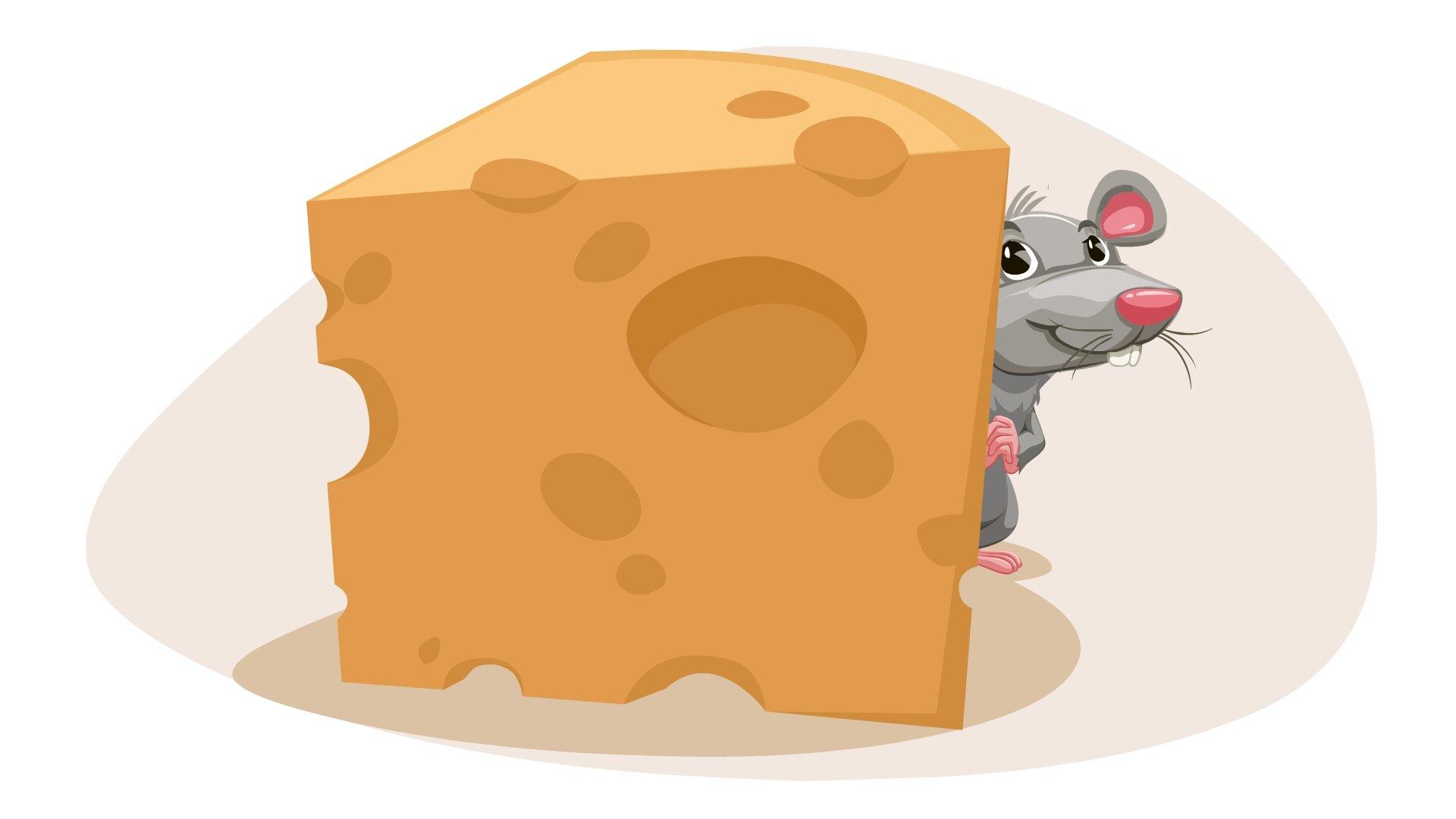 Ilustracja przedstawia mysz za serem.
