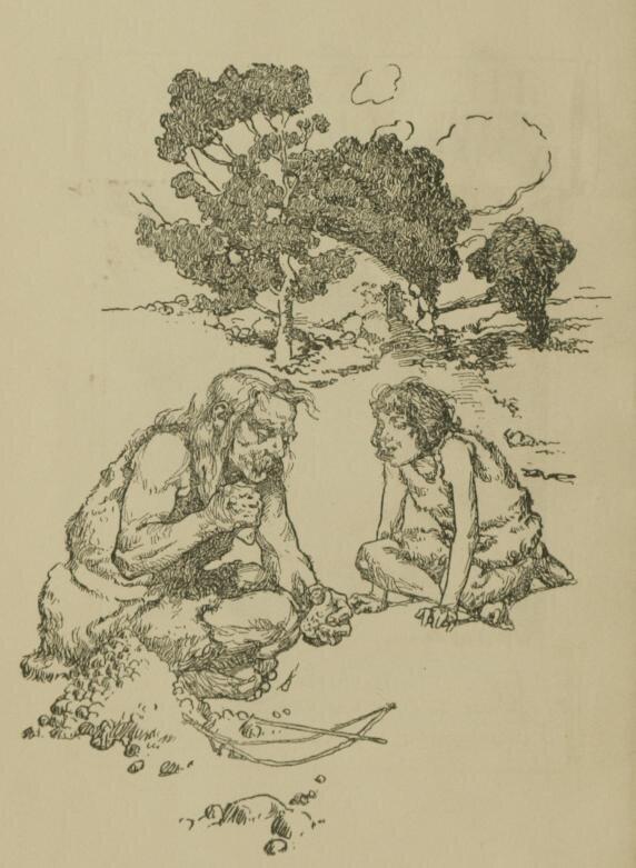 Ilustracja przedstawiająca jaskiniowców