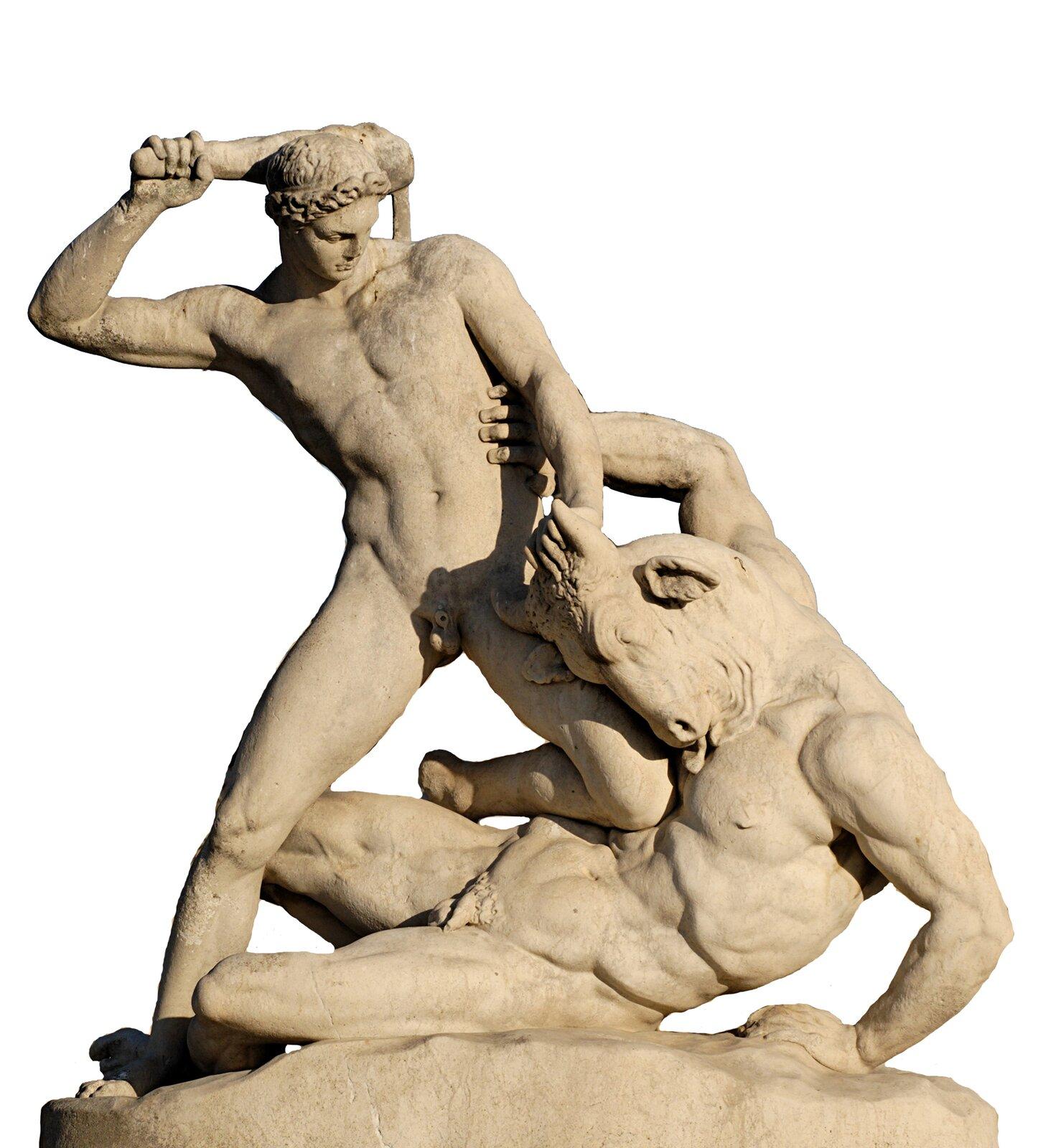 Tezeusz walczący zMinotaurem Źródło: Étienne-Jules Ramey, Tezeusz walczący zMinotaurem, 1826, marmur, ogród Tuileries, Paryż, domena publiczna.