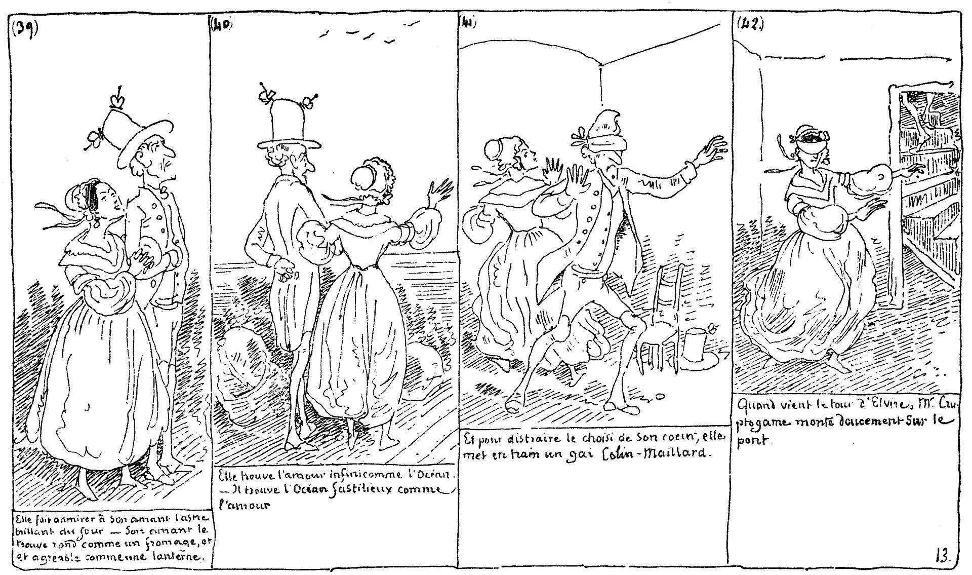 """Ilustracja przedstawia fragment historyjki obrazkowej Rodolphe Topffera """"Histoire de Monsieur Cryptogame"""". Historyjka składa się zczterech czarno - białych obrazków. Na pierwszym ukazane są zprofilu dwie osoby idące pod rękę. Na drugim kobieta macha ręką do lecących ptaków. Trzeci obrazek przedstawia zabawę wchowanego - para znajduje się wpomieszczeniu, mężczyzna ma zasłonięte oczy. Na czwartym kobieta jest sama ima zasłonięte oczy. Pod każdym obrazkiem umieszczony został tekst."""