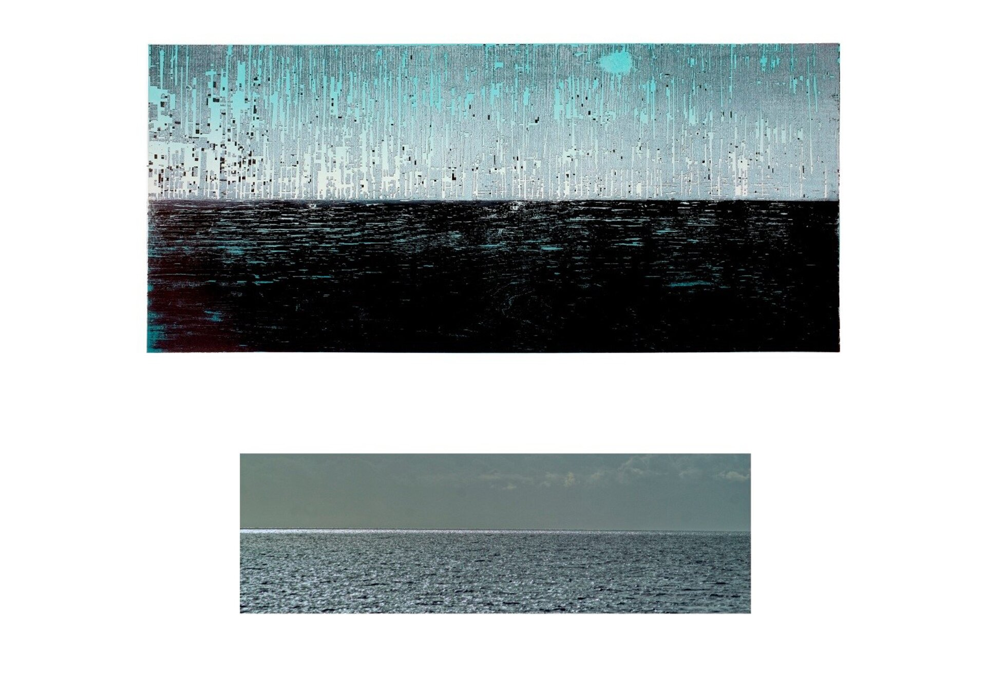 """Ilustracja interaktywna przedstawia drzeworyt """"Lombok"""" autorstwa Michała Rygielskiego. Horyzontalna kompozycja grafiki ukazuje niebo itaflę wody podczas deszczu. Deszcz autor oddał za pomocą podłużnych plam ikleksów na tle nieba oraz poziomych, przerywanych linii na tle wody."""