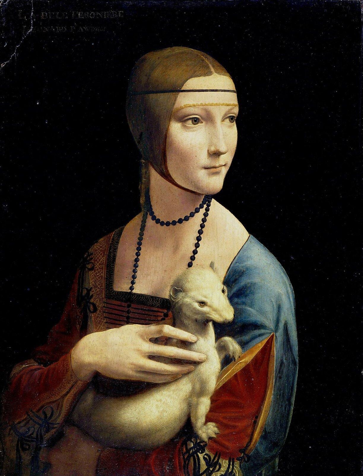 """Ilustracja przedstawia obraz olejny """"Dama zgronostajem"""" autorstwa Leonarda da Vinci. Dzieło ukazuje portret Cecylii Gallerani  wbogato haftowanej, niebiesko-czerwonej sukni zprostokątnym dekoltem. Jasno oświetlona postać wyłania się zmroku czarnego tła. Na twarzy młodej kobiety odelikatnych rysach ijasnej skórze rysuje się delikatny uśmiech. Głowa odwrócona jest zdecydowanie wlewą stronę, spogląda gdzieś za siebie. Włosy ma uczesane gładko zprzedziałkiem na środku iprzepasane cienką opaską przecinającą czoło. Dama, na rękach trzyma białego gronostaja, którego gładzi prawą dłonią owysmukłych palcach. Dzieło, wykonane wtechnice olejnej zdodatkiem tempery na desce, utrzymane jest wwąskiej, ciemnej tonacji zakcentami czerwieni ibłękitów stroju."""