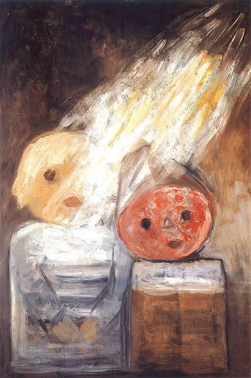 """Ilustracja przedstawia obraz pt. """"Promień słońca"""" autorstwa Tadeusza Makowskiego. Dzieło ukazuje dwóch chłopców, jeden ma żółtą, drugi pomarańczową twarz iszpiczasty kapelusz. Nad chłopcami unoszą się promienie słońca."""
