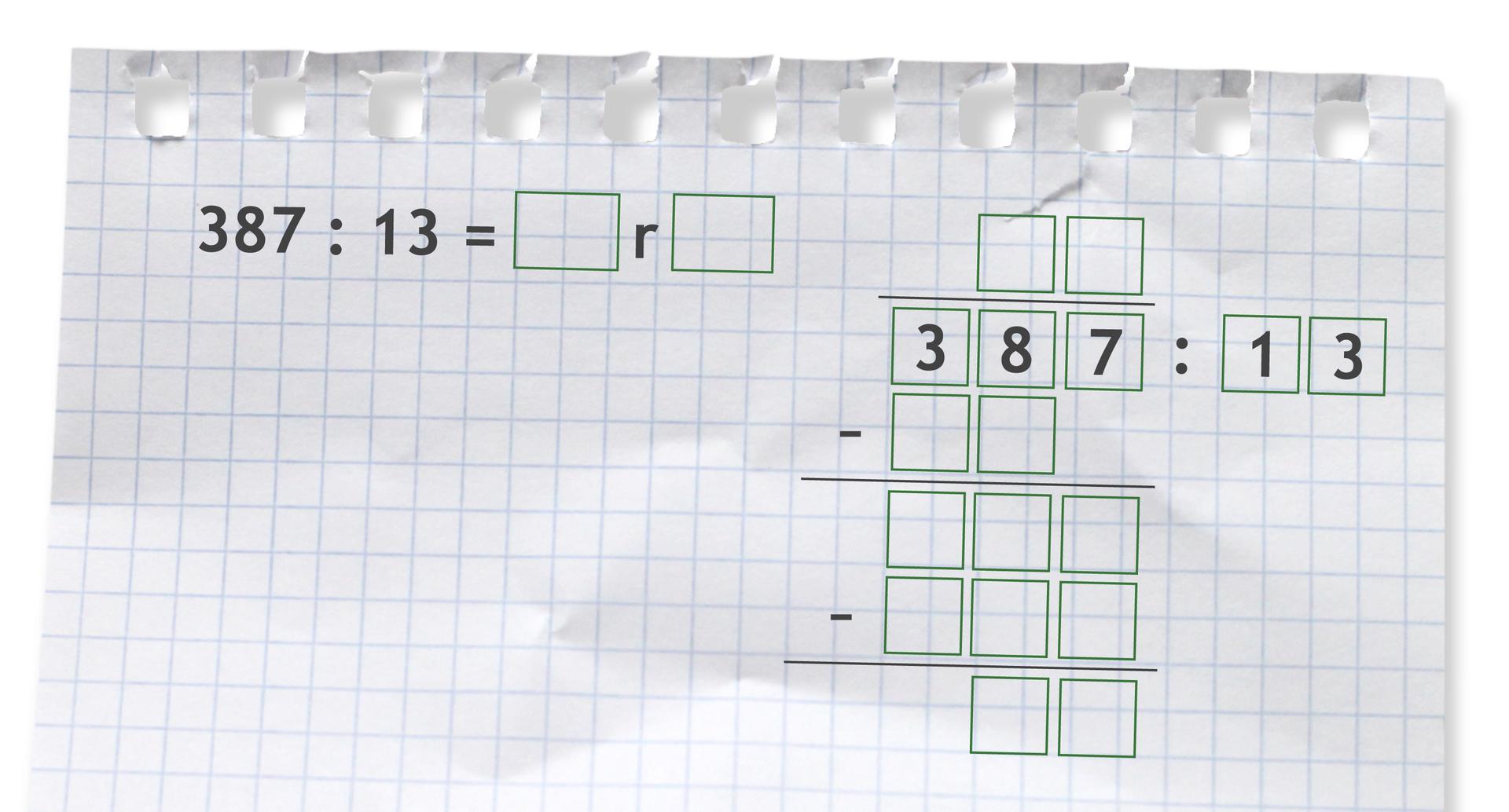 Miejsce do wykonania dzielenia zresztą: 387 dzielone przez 13.