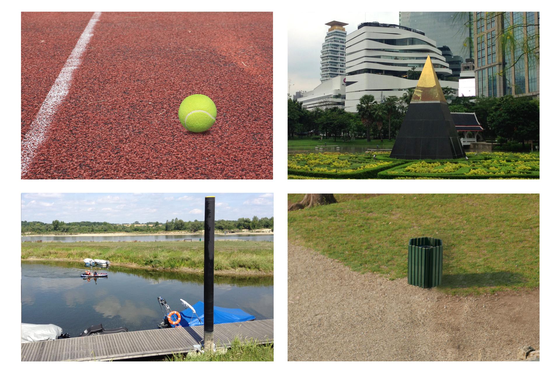 Zdjęcia przedstawiające piłkę tenisową, budowlę wkształcie ostrosłupa, metalowe beczki ikosz na śmieci wkształcie graniastosłupa.
