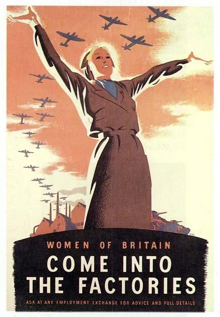 Women of Britain: come into the factories Źródło: Women of Britain: come into the factories, plakat propagandowy, domena publiczna.