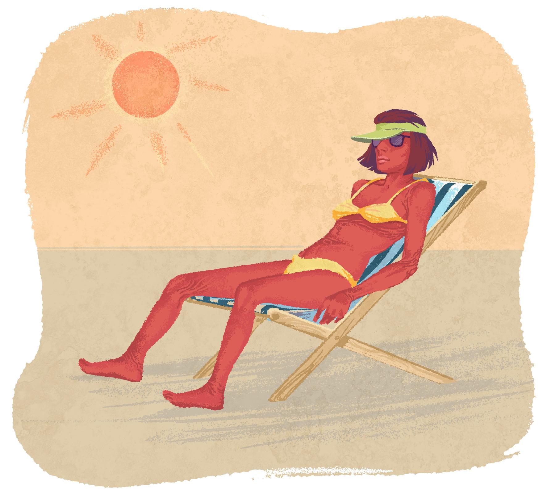 Galeria rysunków obrazujących różne rodzaje uzależnień. Stara kobieta zmocną opalenizną nadal się opala. Na piaskowym tle leżak wbiało-niebieskie paski. Siedzi na nim szczupła, bardzo brązowa kobieta wżółtym kostiumie bikini, zielonym daszku na głowie iokularach przeciwsłonecznych. Na niebie słońce.