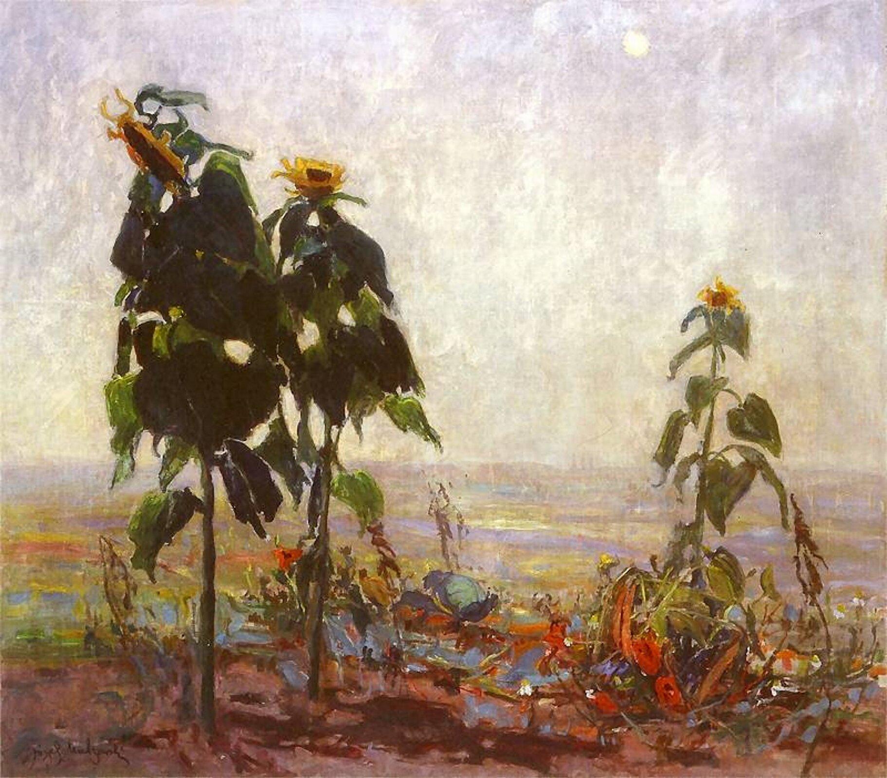 """Ilustracja przedstawia obraz pt. """"Słoneczniki"""" autorstwa Tadeusza Makowskiego. Obraz ukazuje trzy kwiaty słonecznika rosnące na polanie. Woddali widoczny jest krajobraz miasta."""