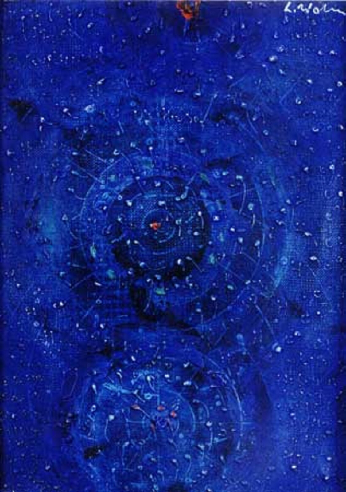 """Ilustracja przedstawia obraz Lecha Wolskiego pt. """"In octavo"""". Dzieło pochodzi z2005 roku. Wykonane zostało ono techniką malarstwo olejne. Na ilustracji znajduje się niebieskie tło. Widoczne są na nim malutkie kropki. Wyglądem przypomina gwiaździste niebo. Autorem obrazu jest absolwent Wydziału Sztuk Pięknych UMK wToruniu."""