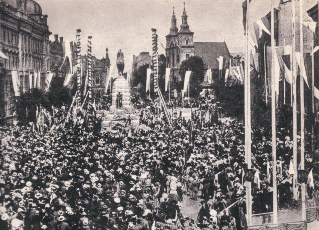 Uroczystość odsłonięcia Pomnika Grunwaldzkiego wKrakowie, 15 lipca 1910 r.