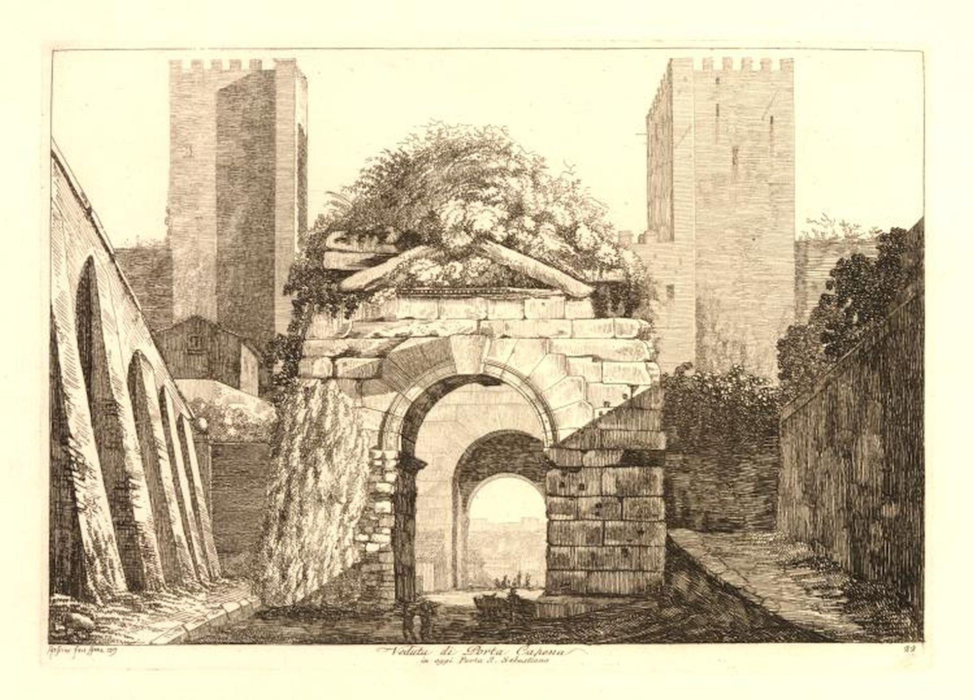 """Ilustracja przedstawia obraz """"Widok Porta Capena wRzymie"""" autorstwa Luigiego Rossini. Obraz ukazuje starą bramę porośniętą roślinnością. Zlewej iprawej strony widoczne są kamienne mury. Wtle widać dwie wysokie wieże."""