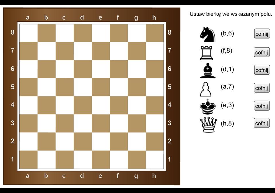 Animacja pokazuje planszę szachów. Należy umieścić sześć bierek wpodanym, dla każdej znich, miejscu.