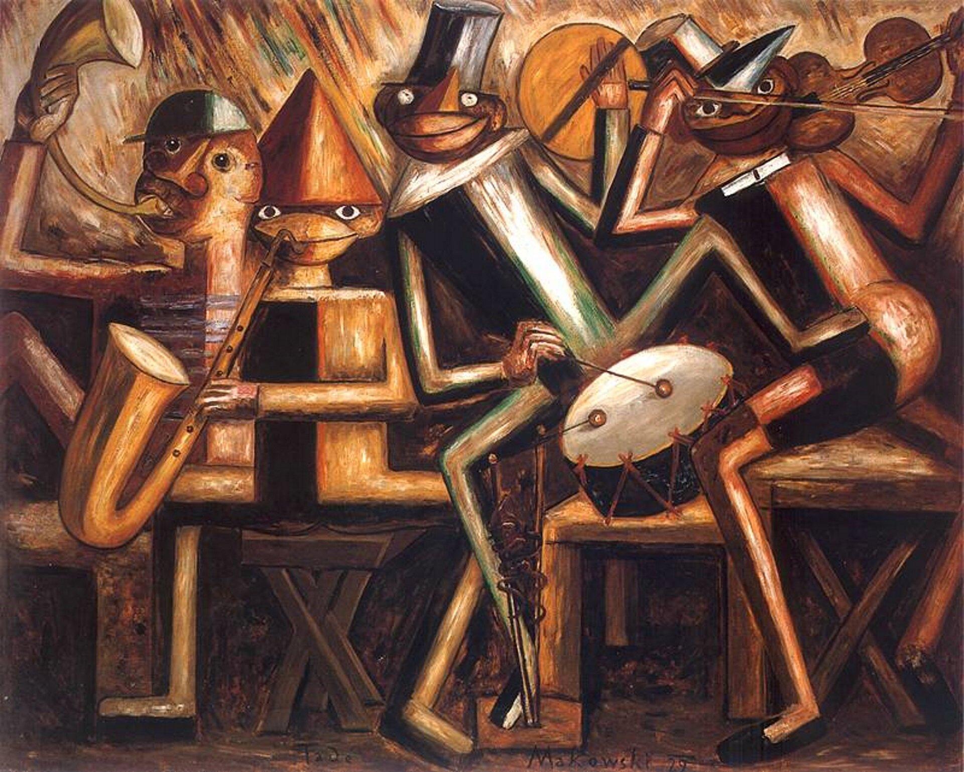 """Ilustracja przedstawia obraz pt. """"Jazz"""" autorstwa Tadeusza Makowskiego. Obraz namalowany został techniką olejną, ajego rozmiary to 132x163cm. Płótno przedstawia cztery postacie ogeometrycznych, przypominających drewniane figury kształtach. Ich pozycje są zróżnicowane, każda dzierży instrument muzyczny. Zlewej strony siedzi trębacz, obok niego przedstawiony jest saksofonista, perkusista zbębnem italerzem oraz skrzypek zharmonijką ustną. Sylwetki ukazane są wsposób dynamiczny, zdają się autentycznie przeżywać muzykę, wpełni integrować zrytmem imelodią, poruszać się wich takt. Twarze grajków, chociaż mocno uproszczone, wyrażają zadowolenie, co sugerują uśmiechy iprzymrużone oczy. Cała scena rozgrywa się najprawdopodobniej wbliżej nieokreślonym lokalu, gdyż muzycy siedzą na drewnianych taboretach. Za nimi umieszczona jest ściana ozróżnicowanych barwach oscylujących wokół ciepłych odcieni brązu izieleni, upstrzona błyszczącymi refleksami światła. Kolorystyka dzieła jest ciepła, radosna idynamiczna – jak jego kompozycja"""