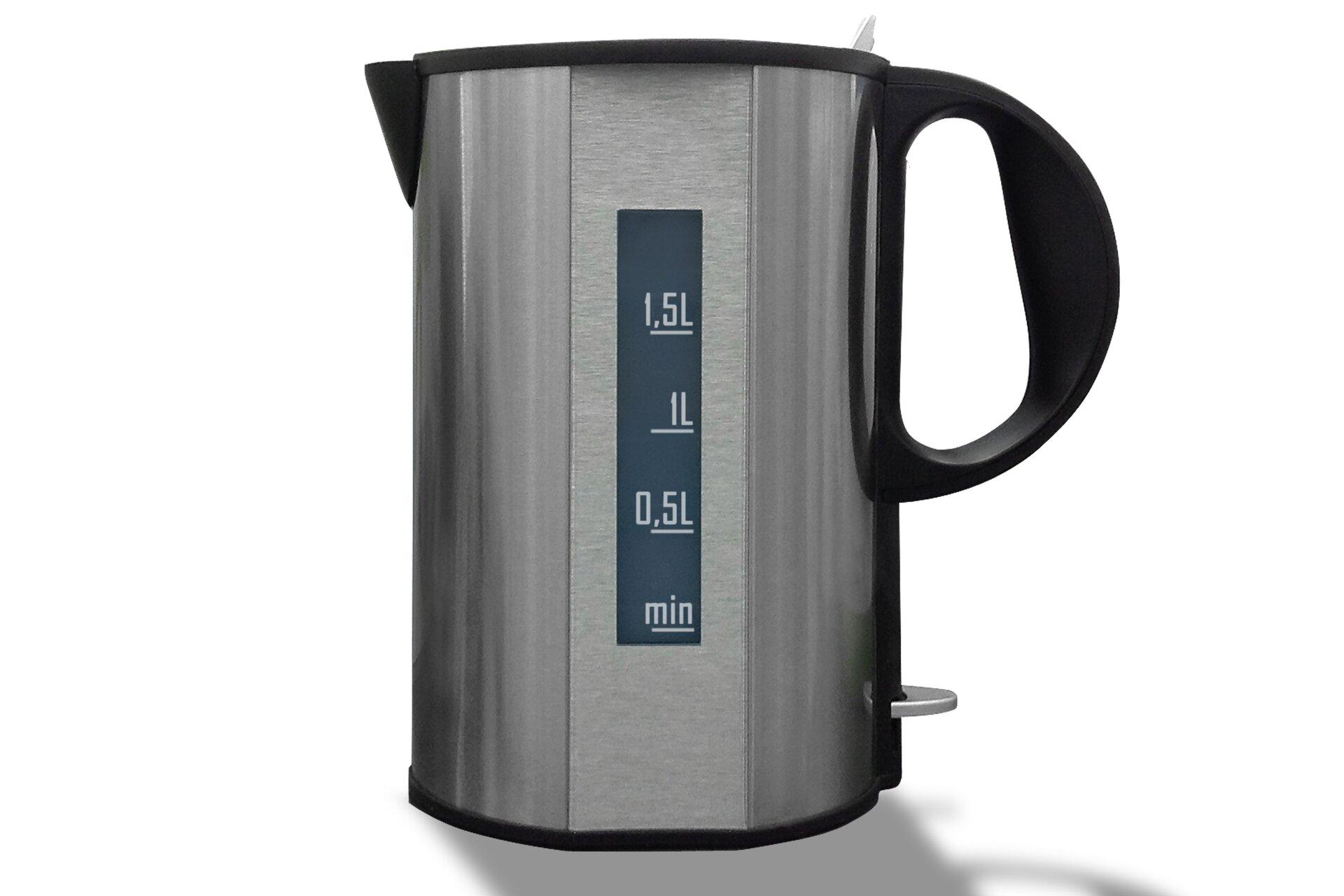 Zdjęcie czajnika elektrycznego – wskaźnik poziomu wody oznaczony ułamkami dziesiętnymi.