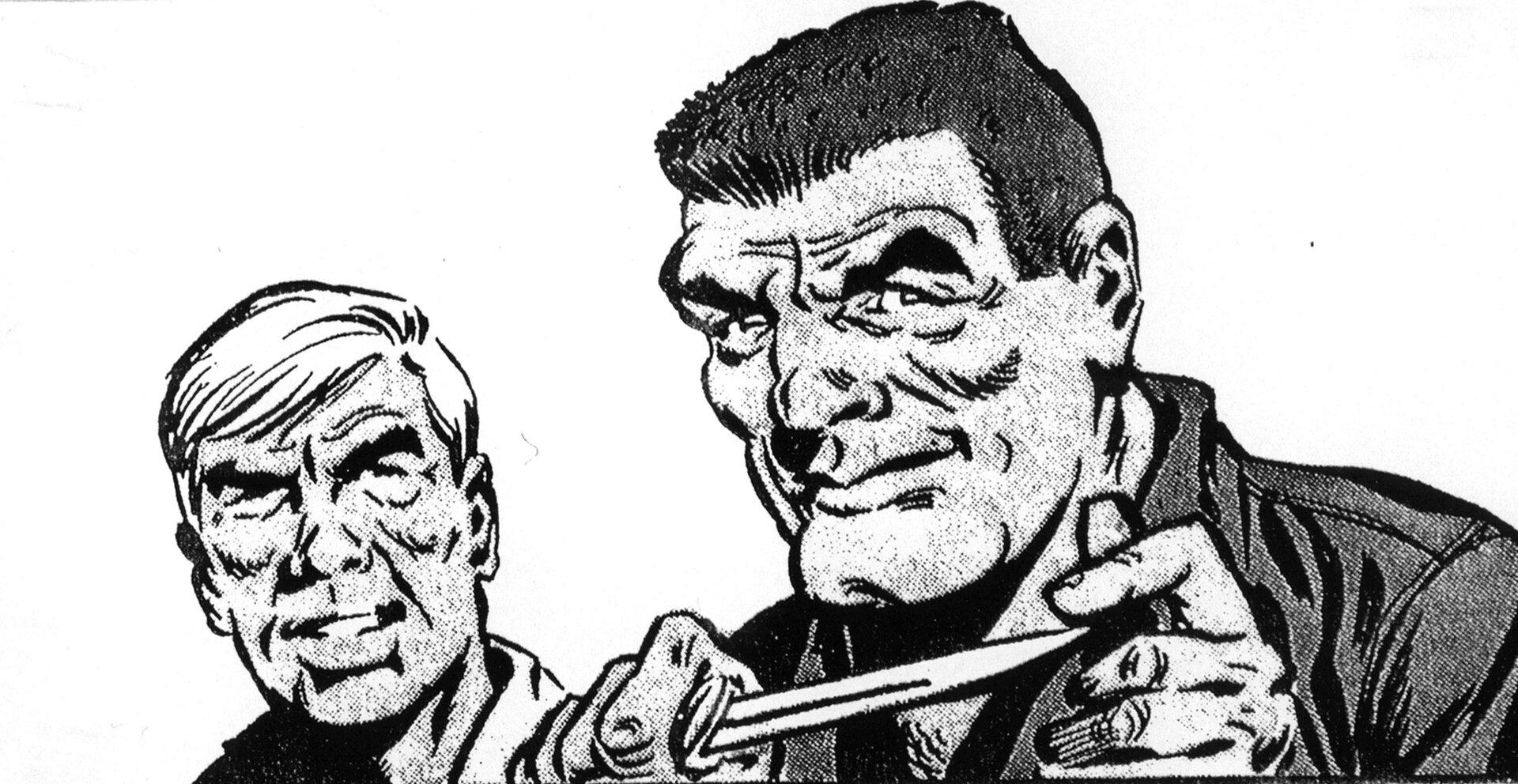 """Ilustracja przedstawia ilustrację zkomiksu Jerzego Wróblewskiego """"Skradziony Skarb"""". Ukazuje dwóch mężczyzn. Postać po lewej stronie to blondyn. Po jego prawej stronie ukazany jest mężczyzna onajeżonych włosach ibruzdach na twarzy. Wdłoniach trzyma nóż, palcem lewej ręki dotyka końca ostrza."""